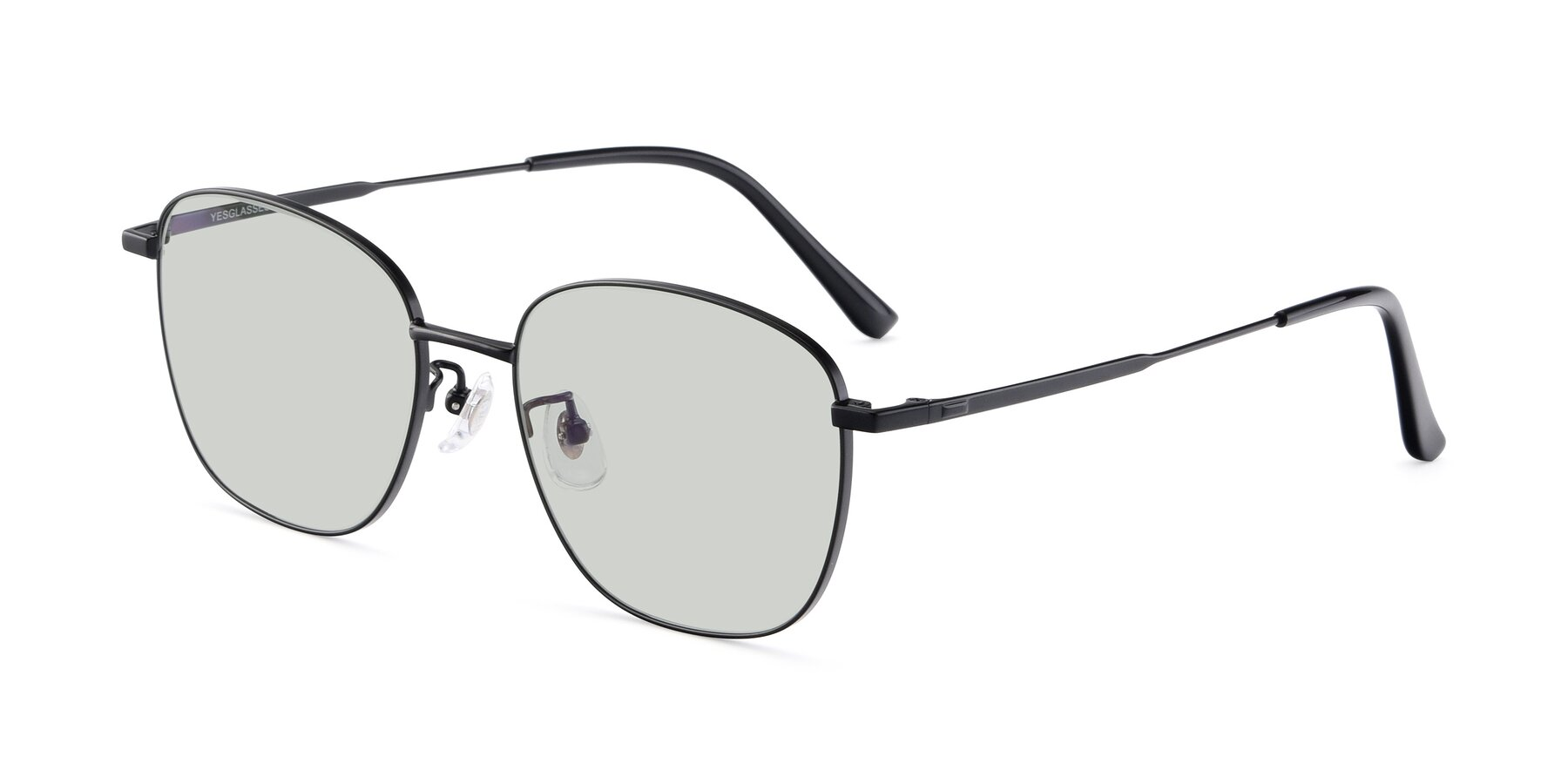 Angle of Tim in Black with Light Green Tinted Lenses