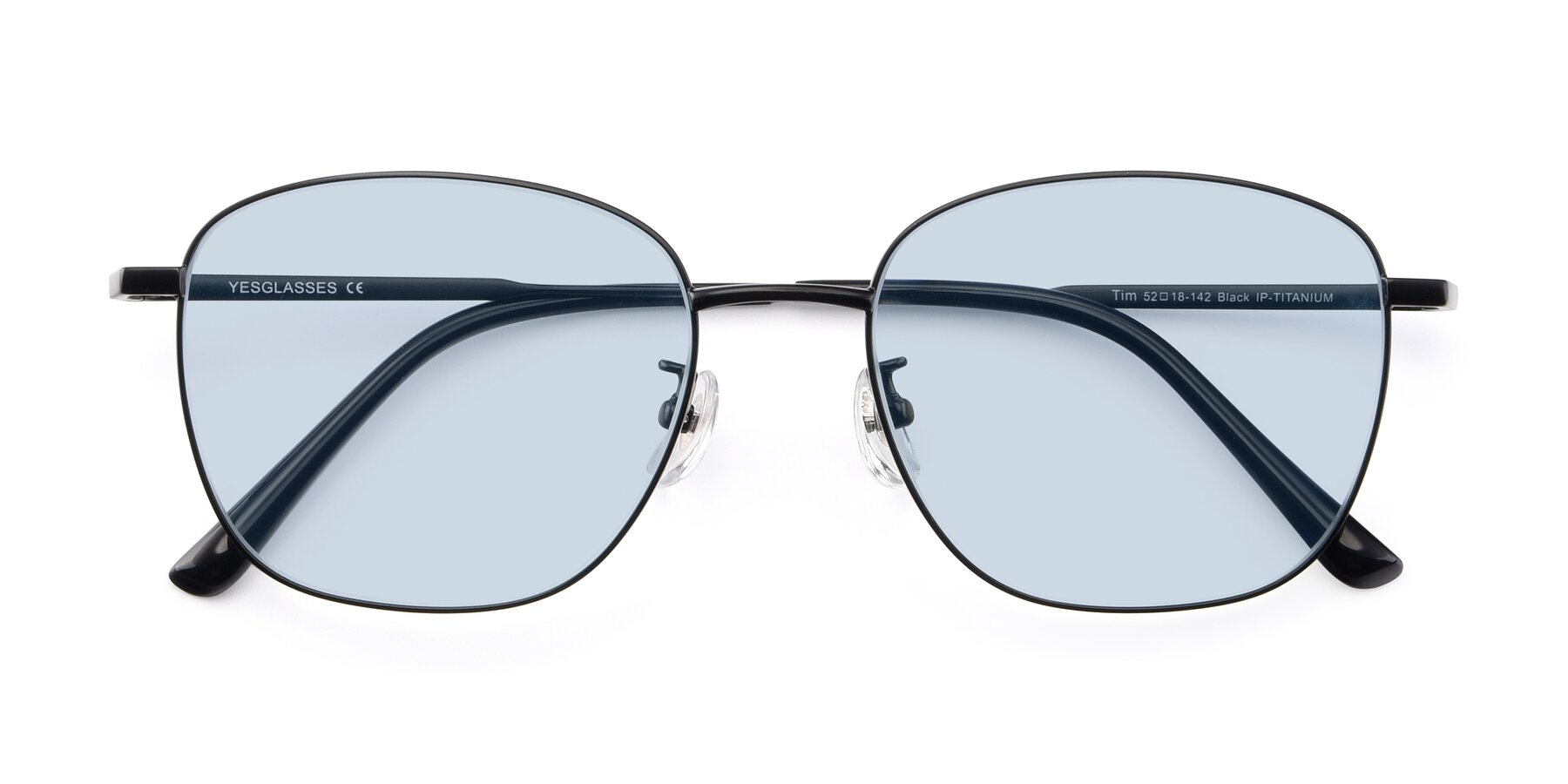 Folded Front of Tim in Black with Light Blue Tinted Lenses