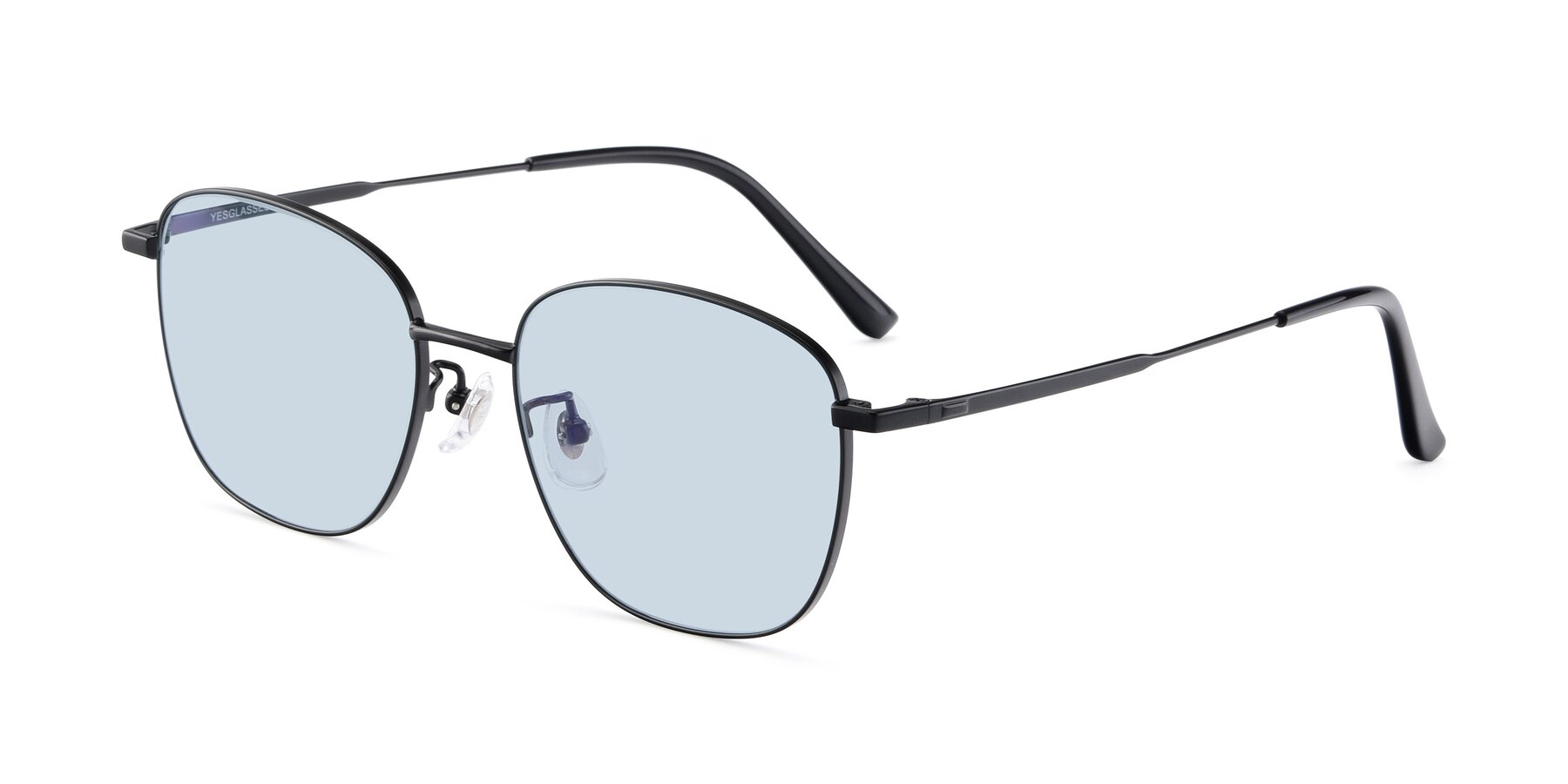 Angle of Tim in Black with Light Blue Tinted Lenses