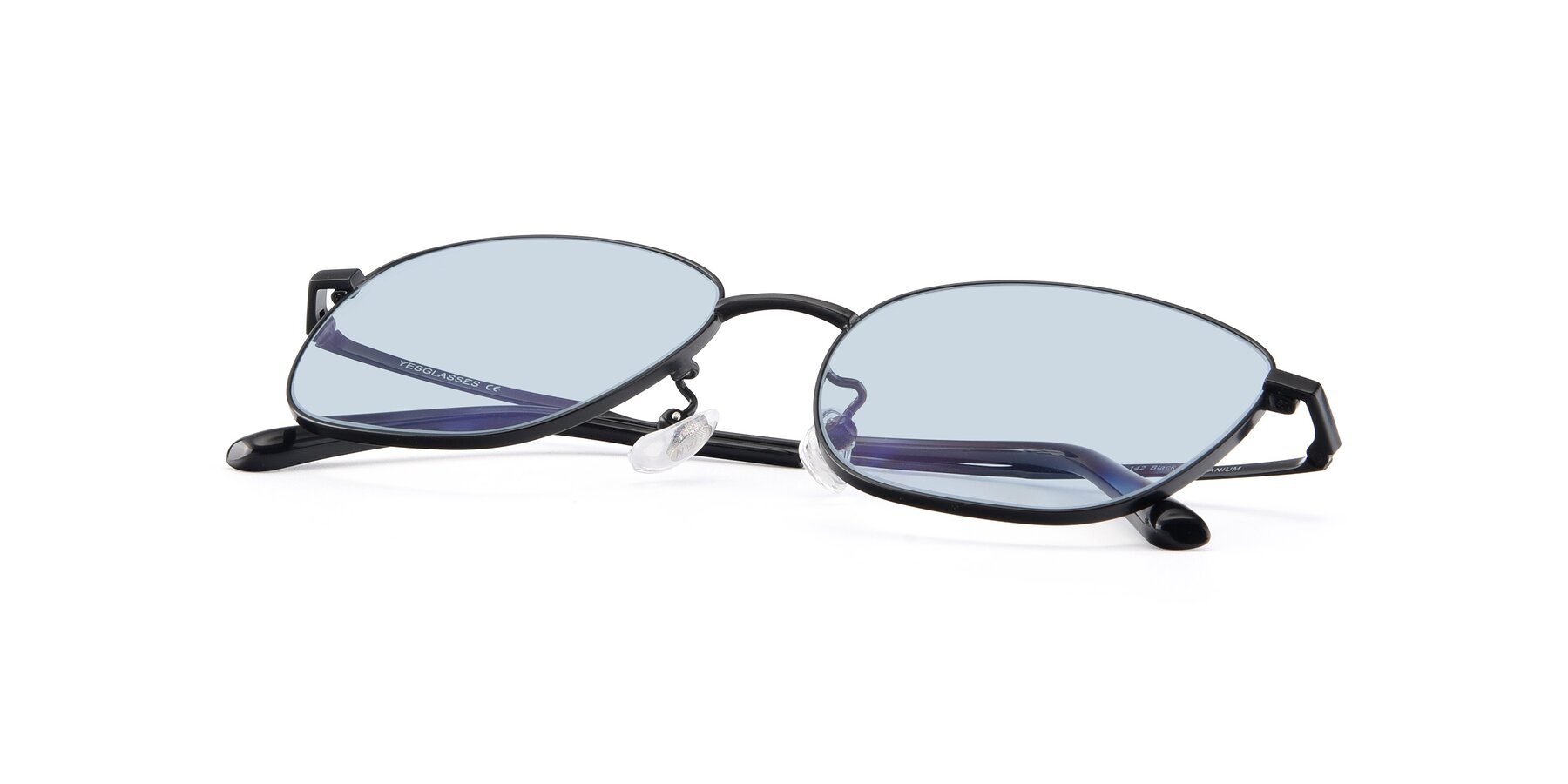 View of Tim in Black with Light Blue Tinted Lenses