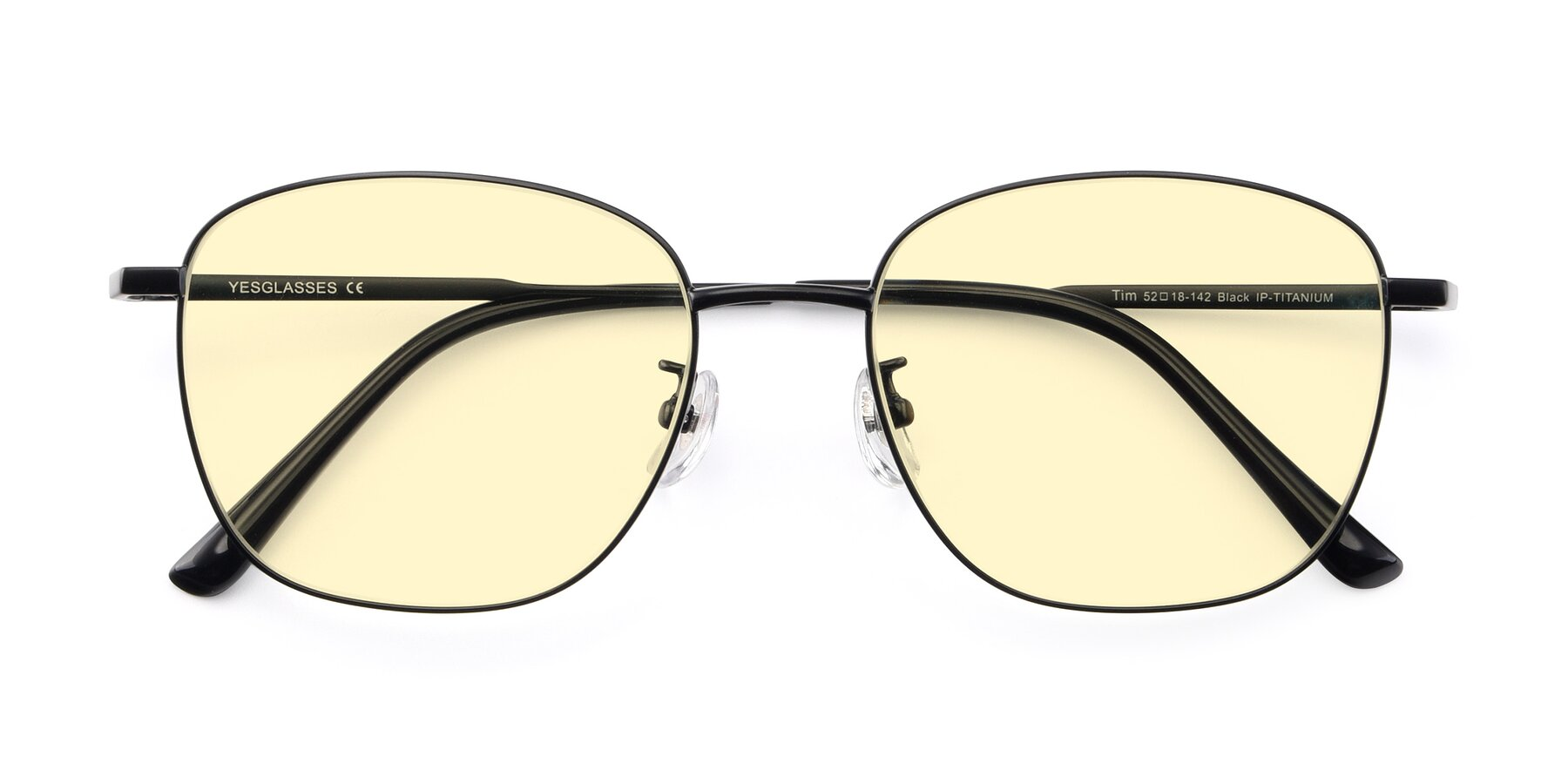 Folded Front of Tim in Black with Light Yellow Tinted Lenses