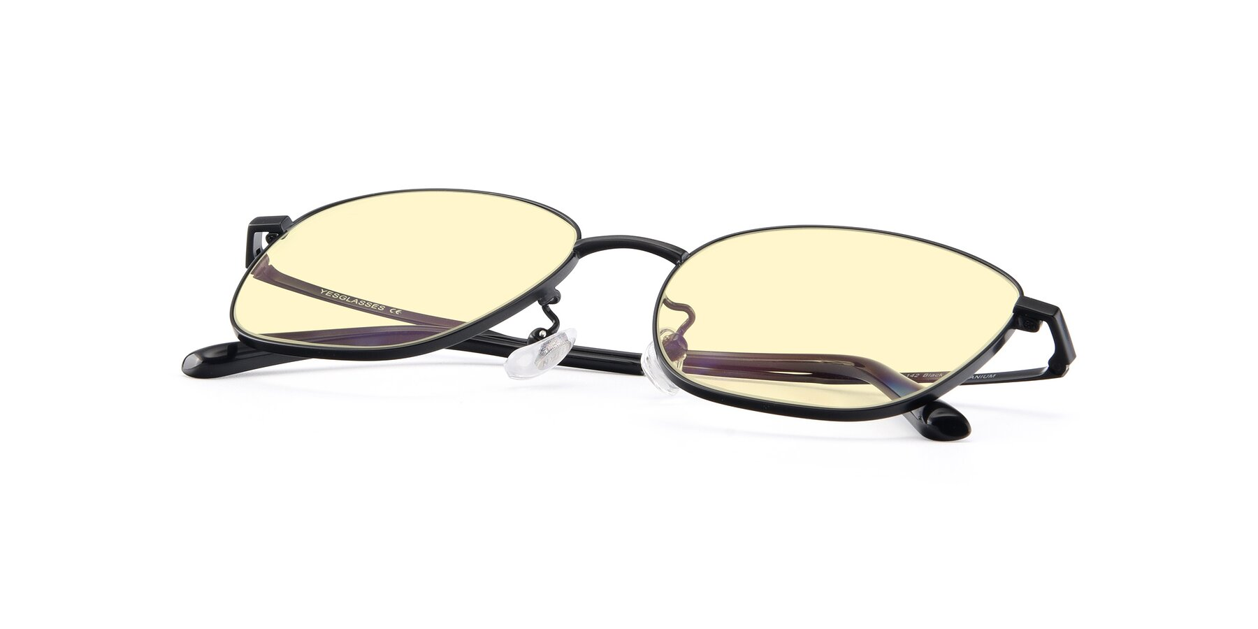 View of Tim in Black with Light Yellow Tinted Lenses