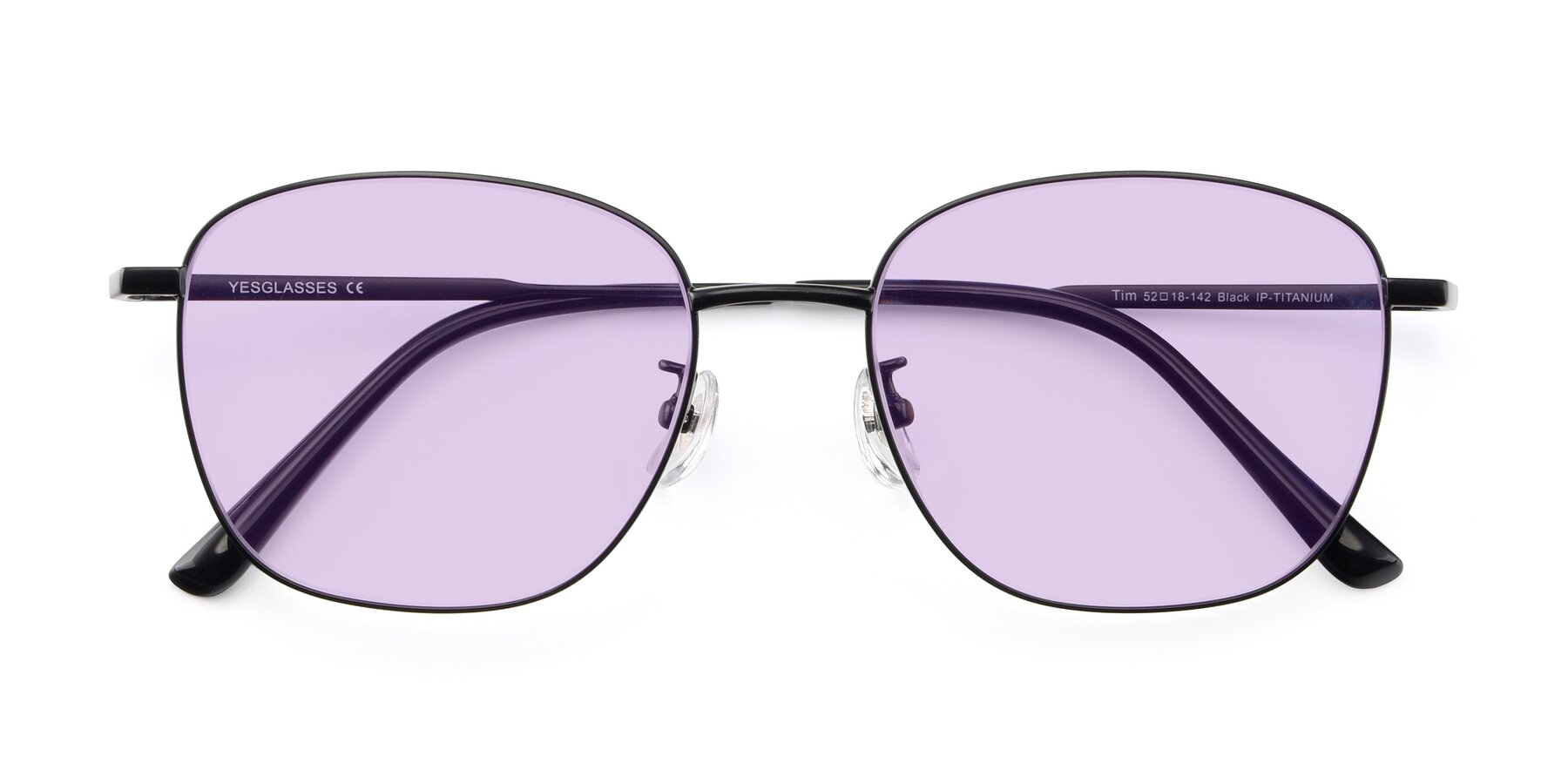 Folded Front of Tim in Black with Light Purple Tinted Lenses
