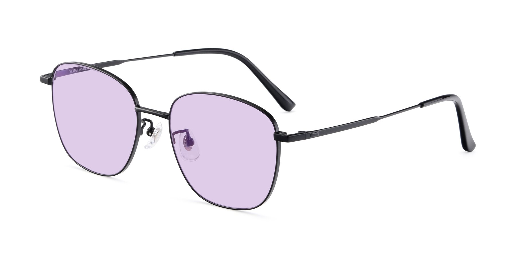 Angle of Tim in Black with Light Purple Tinted Lenses
