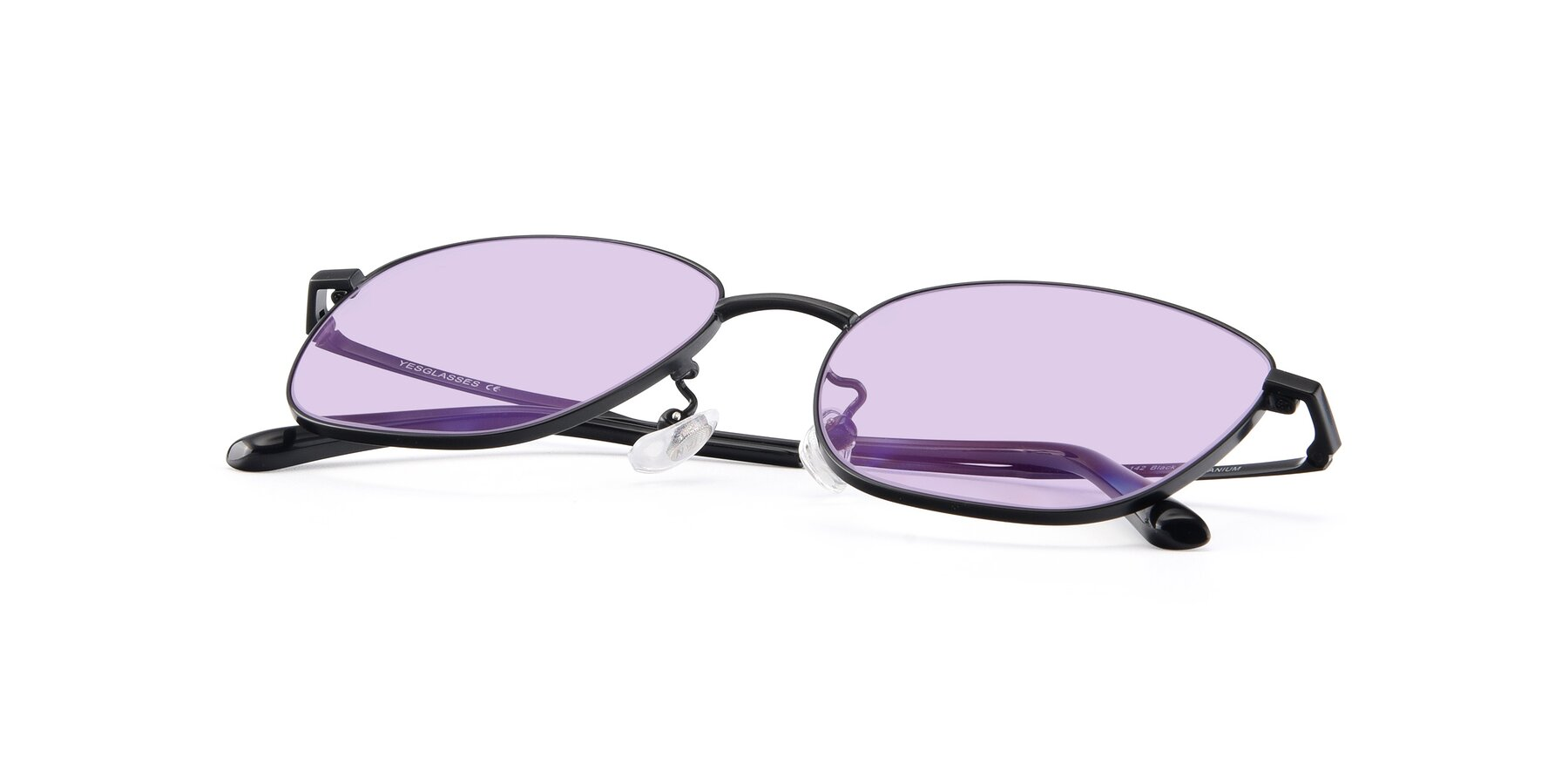 View of Tim in Black with Light Purple Tinted Lenses