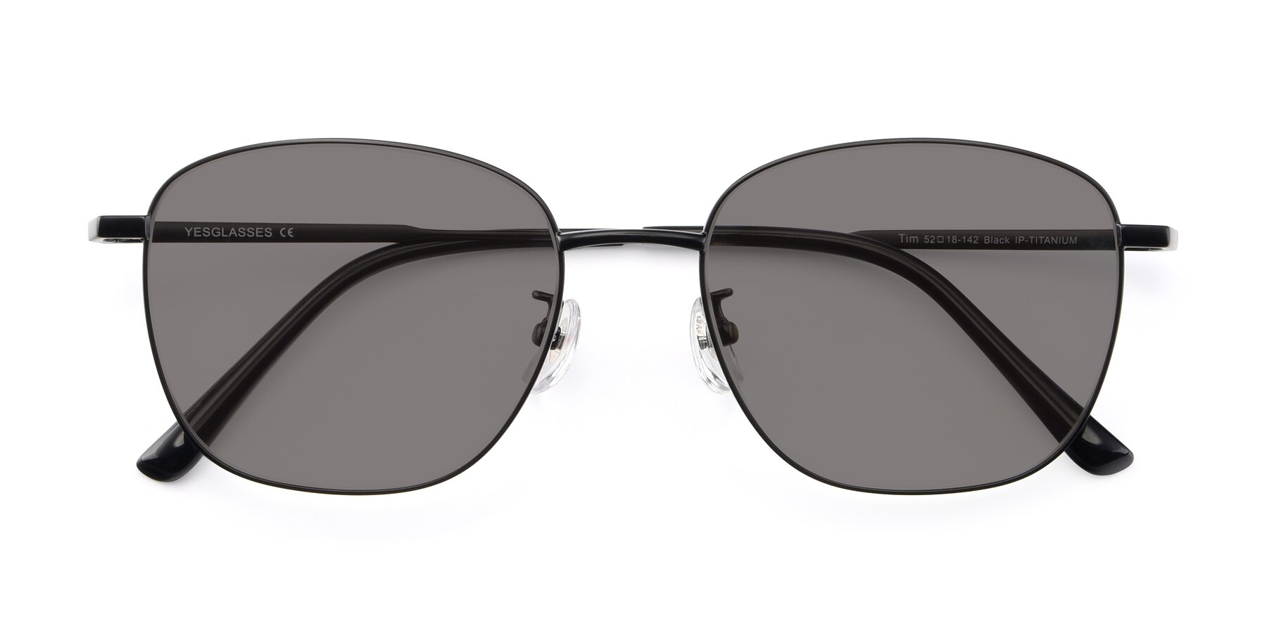 Folded Front of Tim in Black with Medium Gray Tinted Lenses