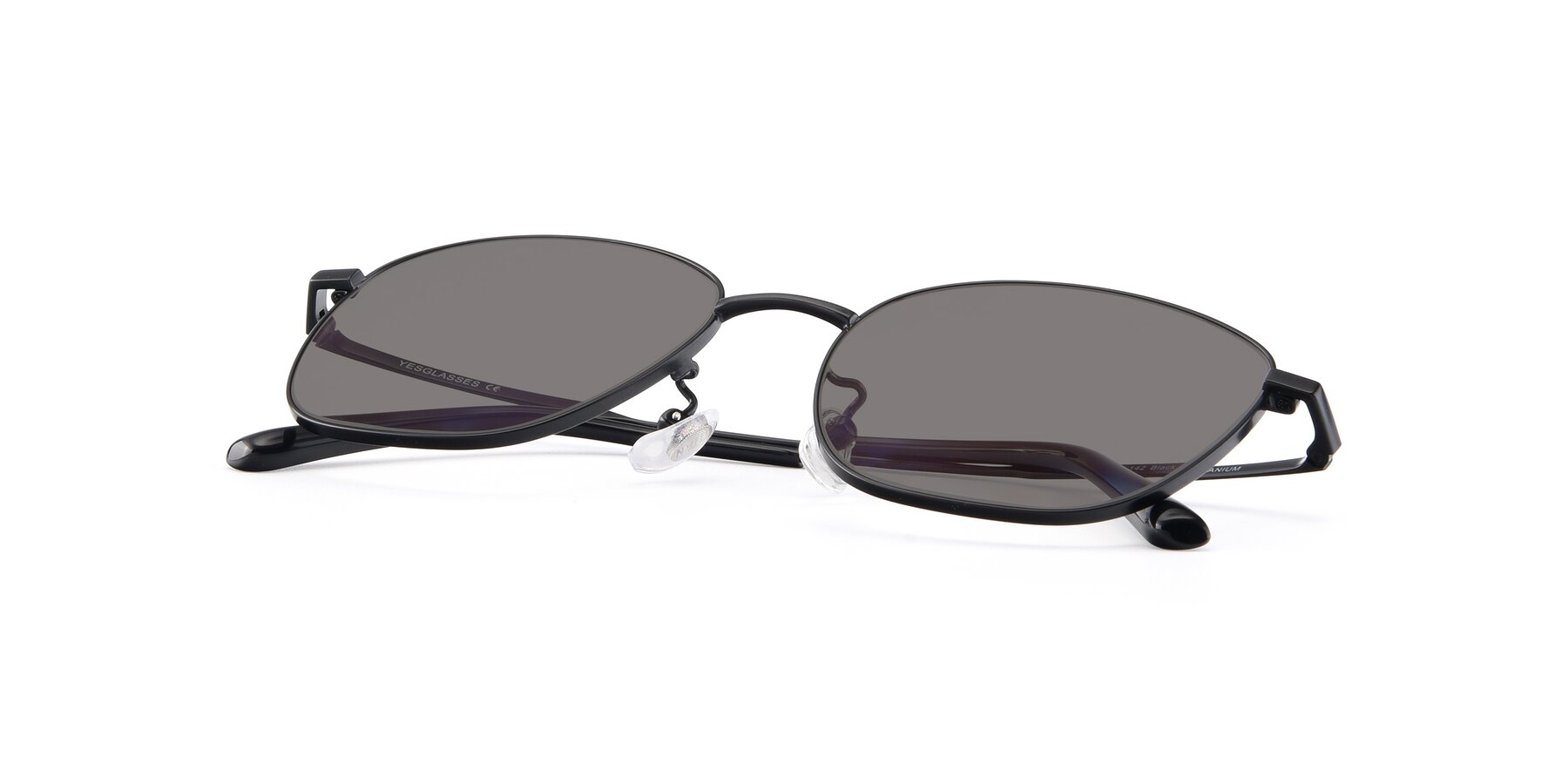 View of Tim in Black with Medium Gray Tinted Lenses