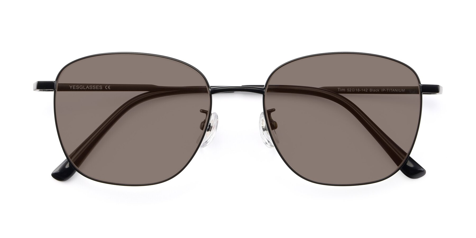 Folded Front of Tim in Black with Medium Brown Tinted Lenses