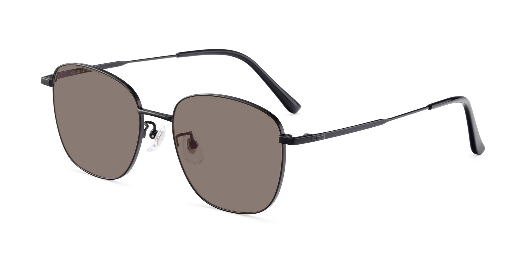 Angle of Tim in Black with Medium Brown Tinted Lenses