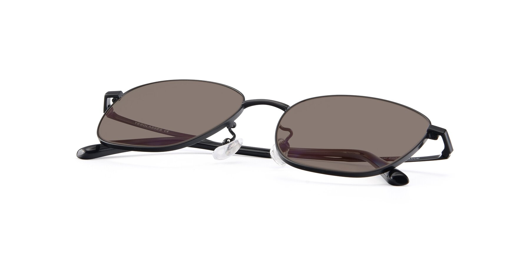 View of Tim in Black with Medium Brown Tinted Lenses