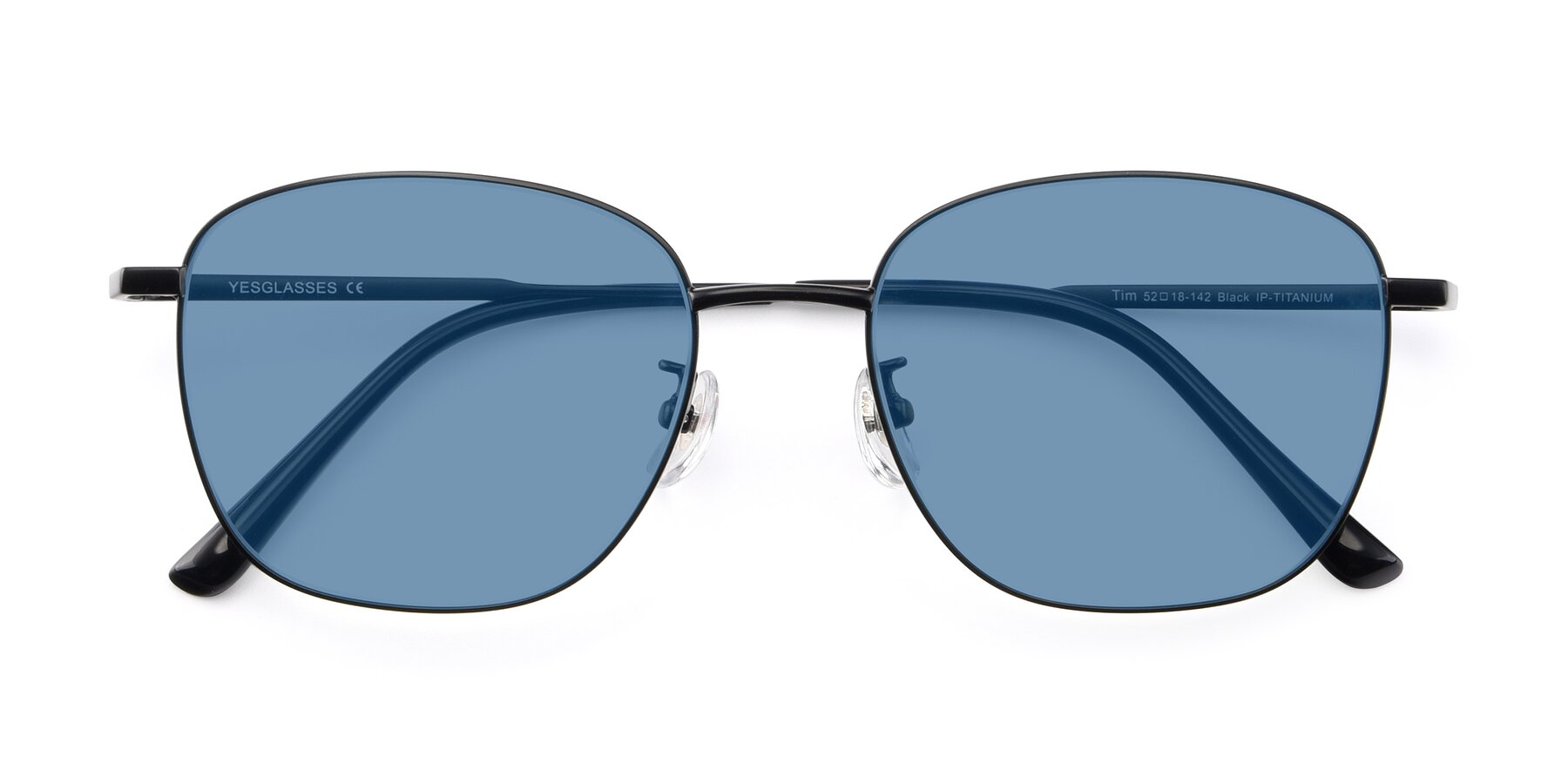 Folded Front of Tim in Black with Medium Blue Tinted Lenses