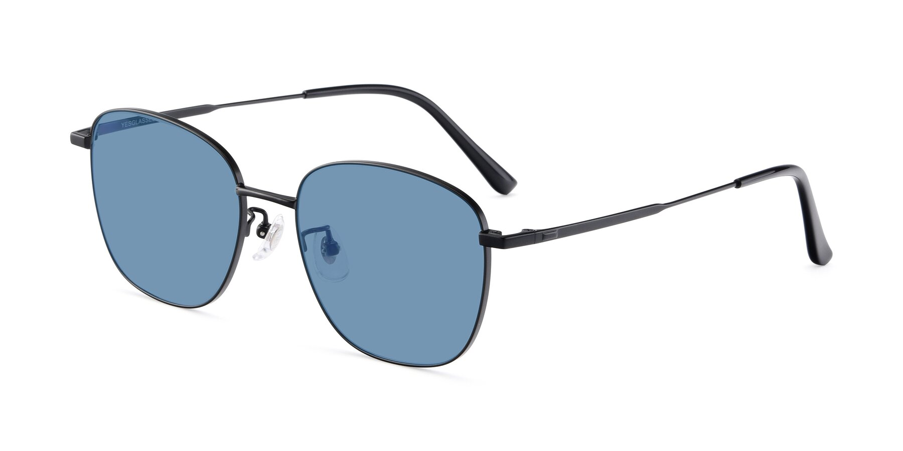 Angle of Tim in Black with Medium Blue Tinted Lenses