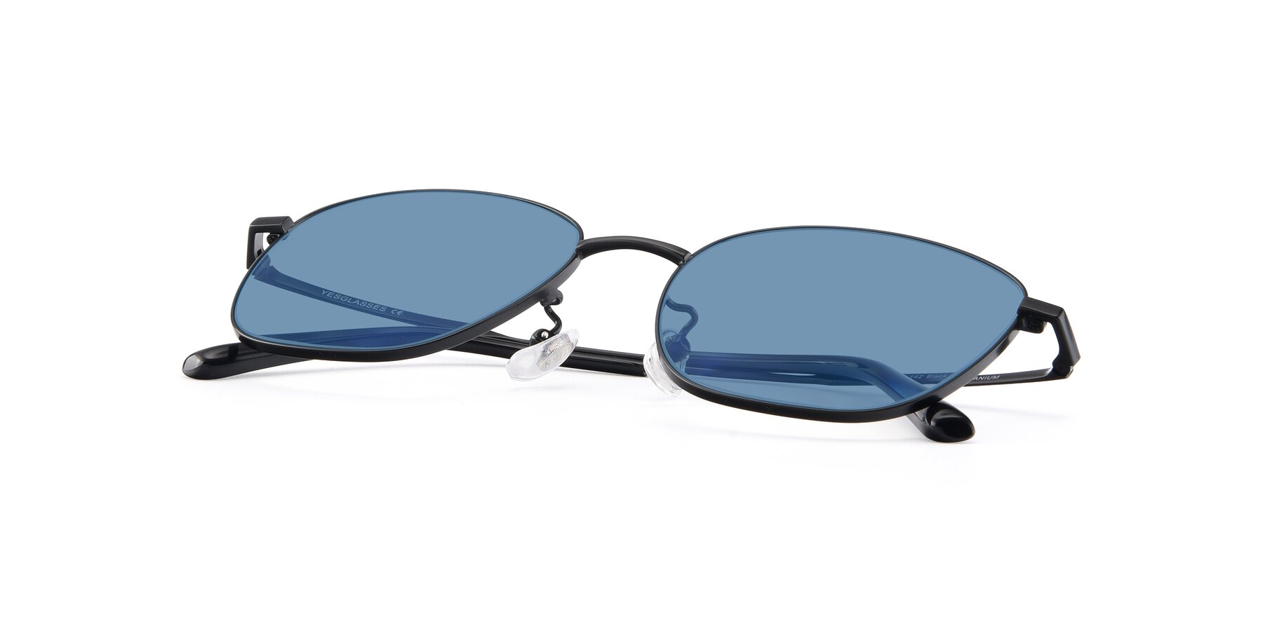 View of Tim in Black with Medium Blue Tinted Lenses