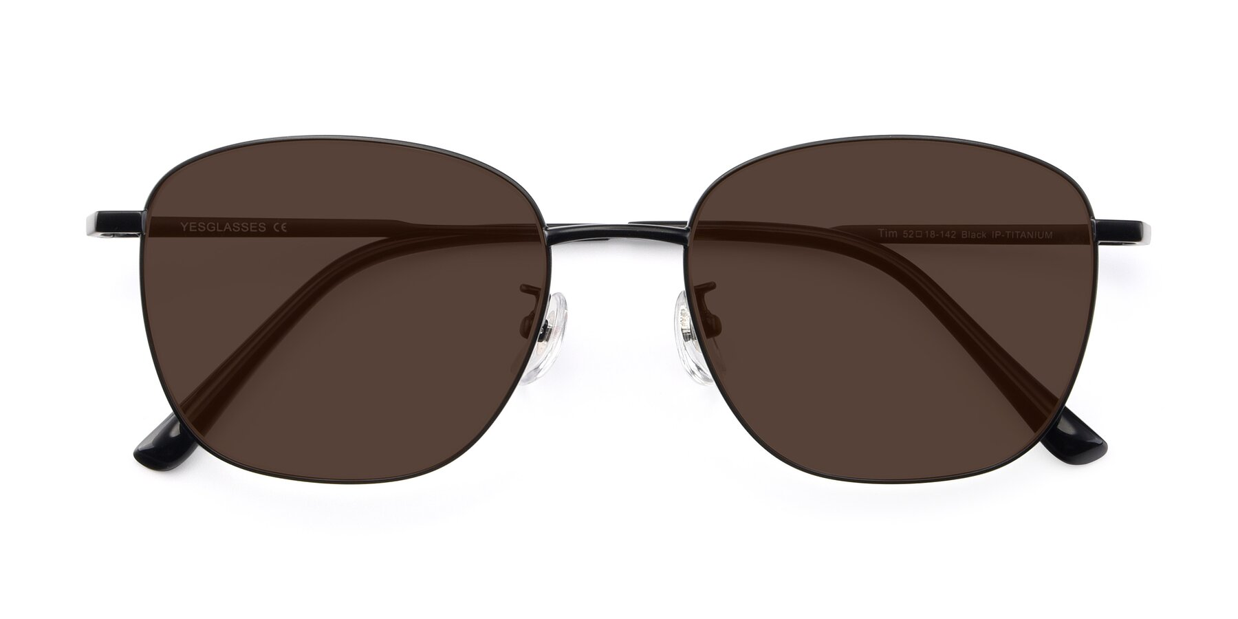 Folded Front of Tim in Black with Brown Tinted Lenses