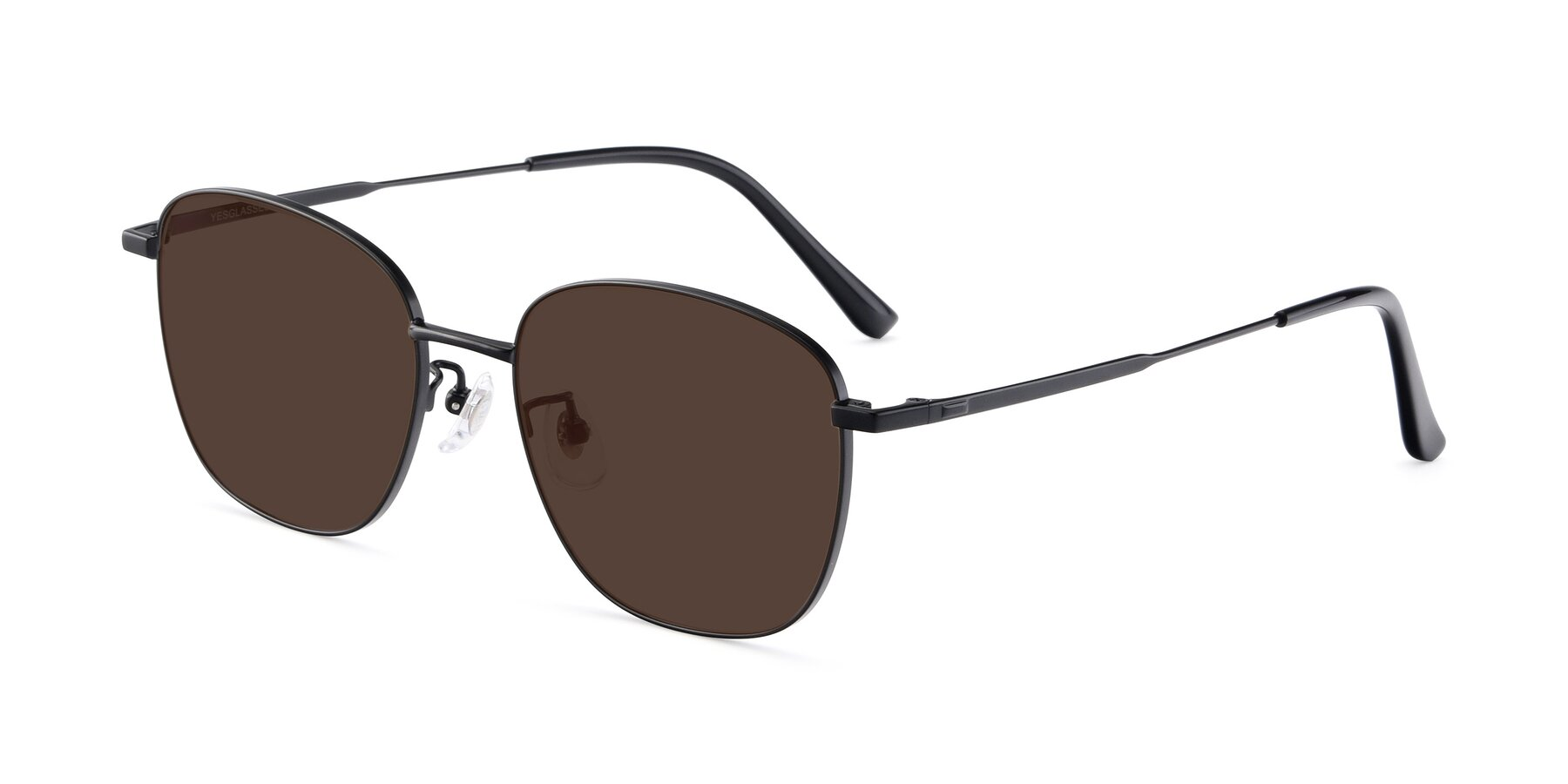 Angle of Tim in Black with Brown Tinted Lenses