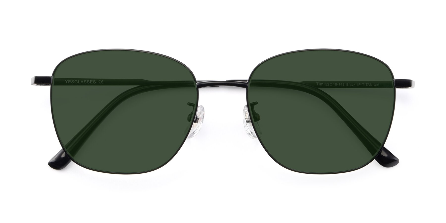 Folded Front of Tim in Black with Green Tinted Lenses