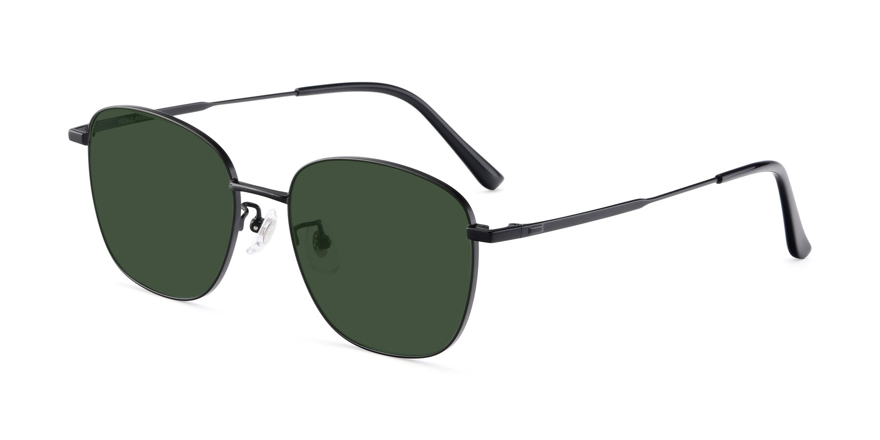 Angle of Tim in Black with Green Tinted Lenses