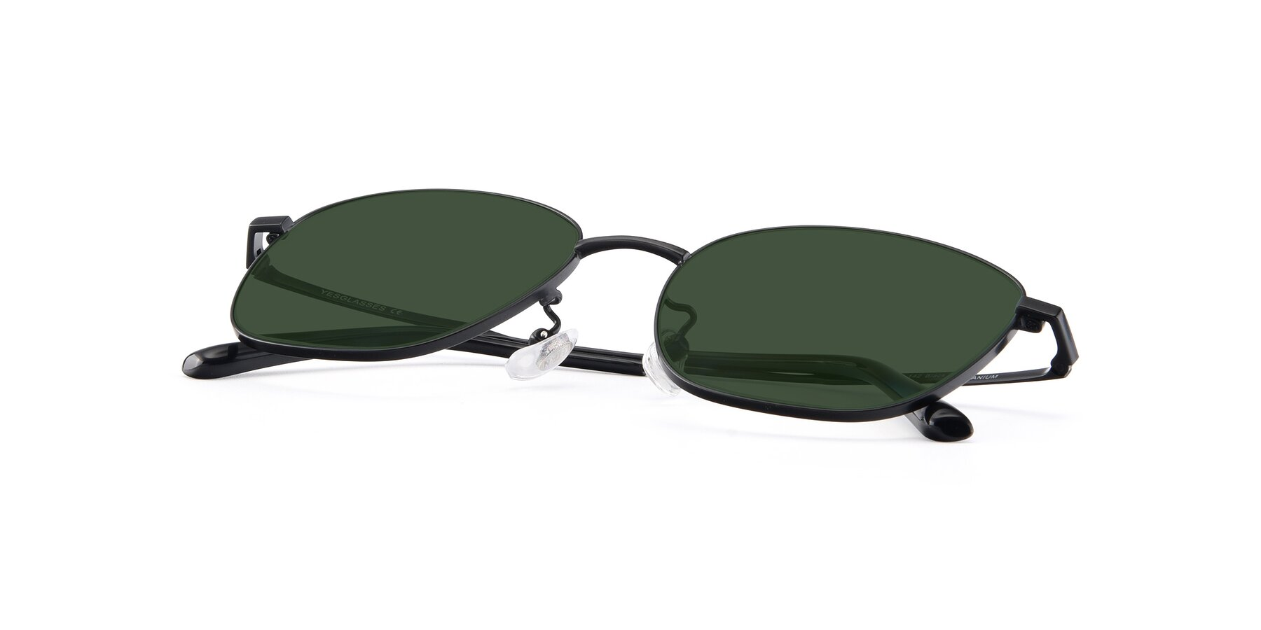 View of Tim in Black with Green Tinted Lenses