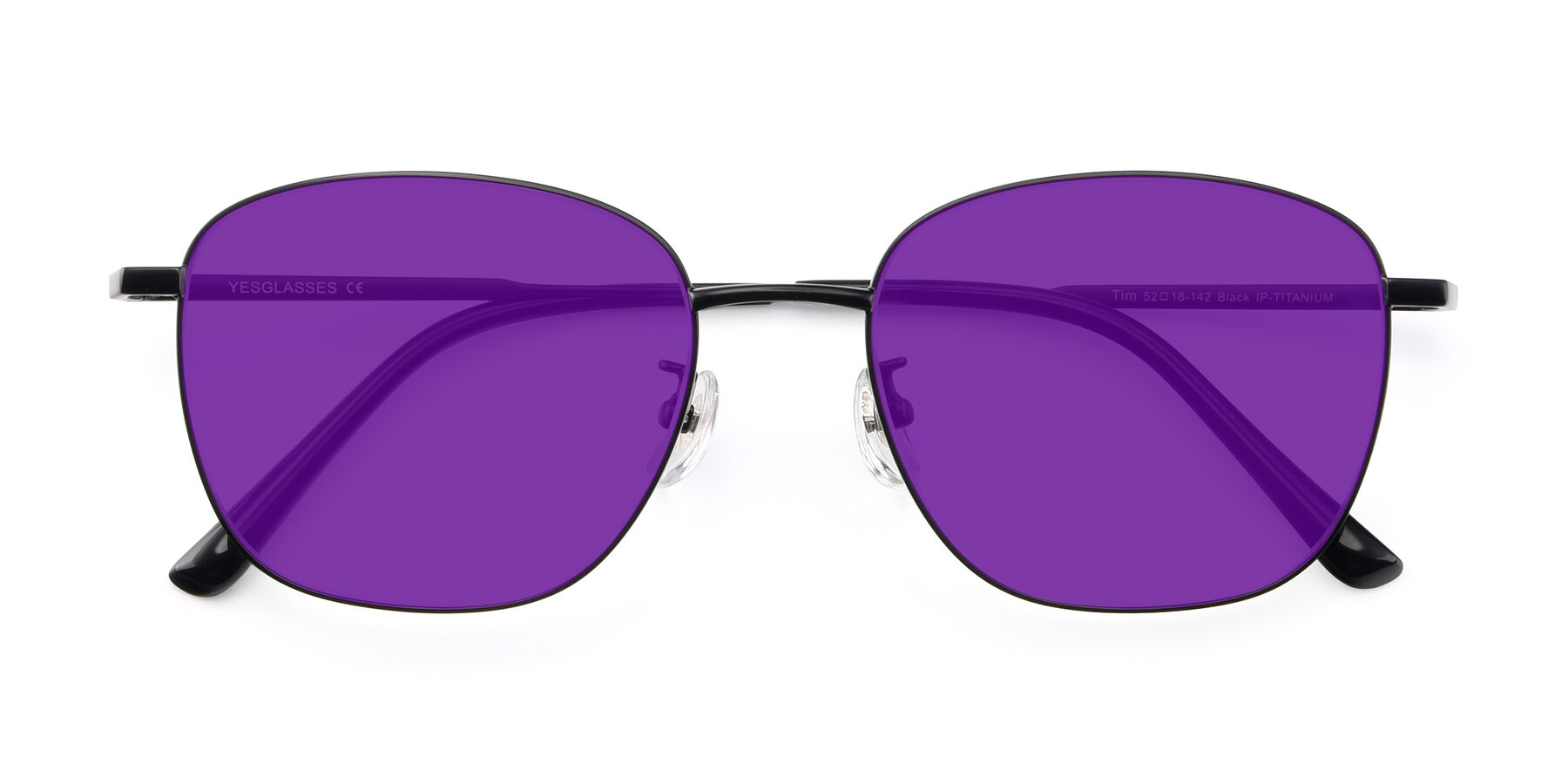 Folded Front of Tim in Black with Purple Tinted Lenses