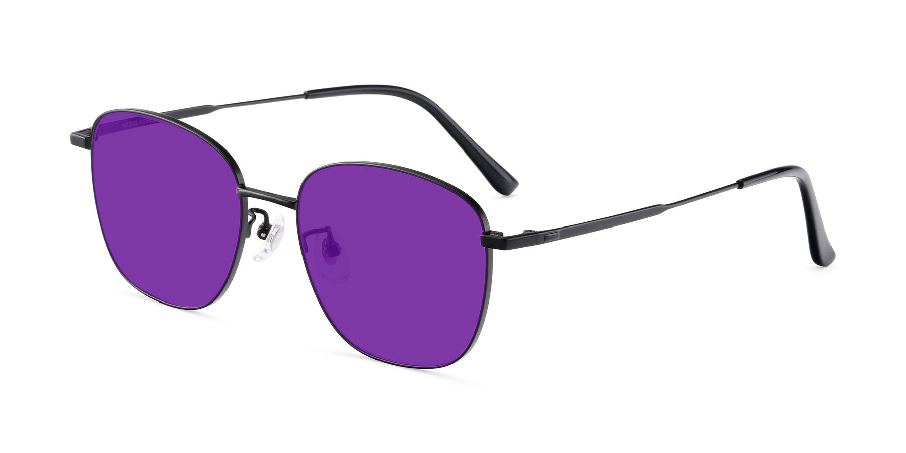 Angle of Tim in Black with Purple Tinted Lenses