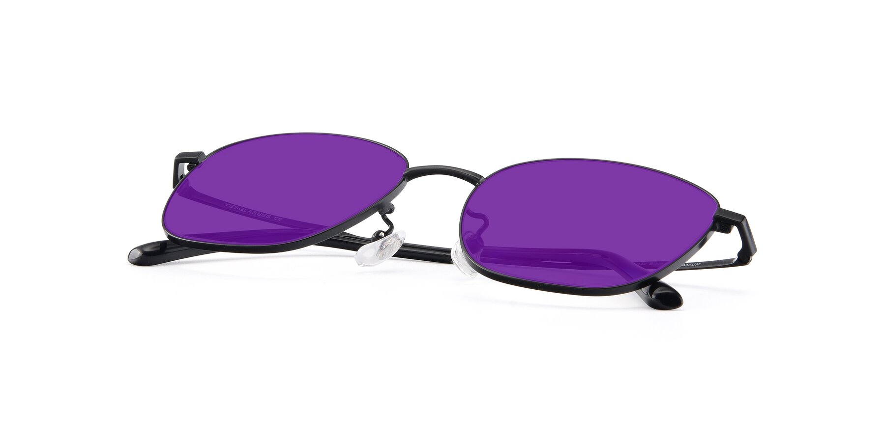 View of Tim in Black with Purple Tinted Lenses
