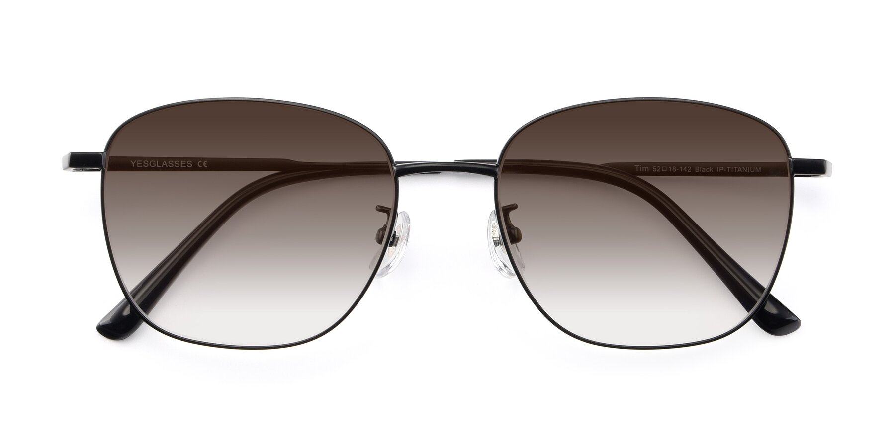 Folded Front of Tim in Black with Brown Gradient Lenses