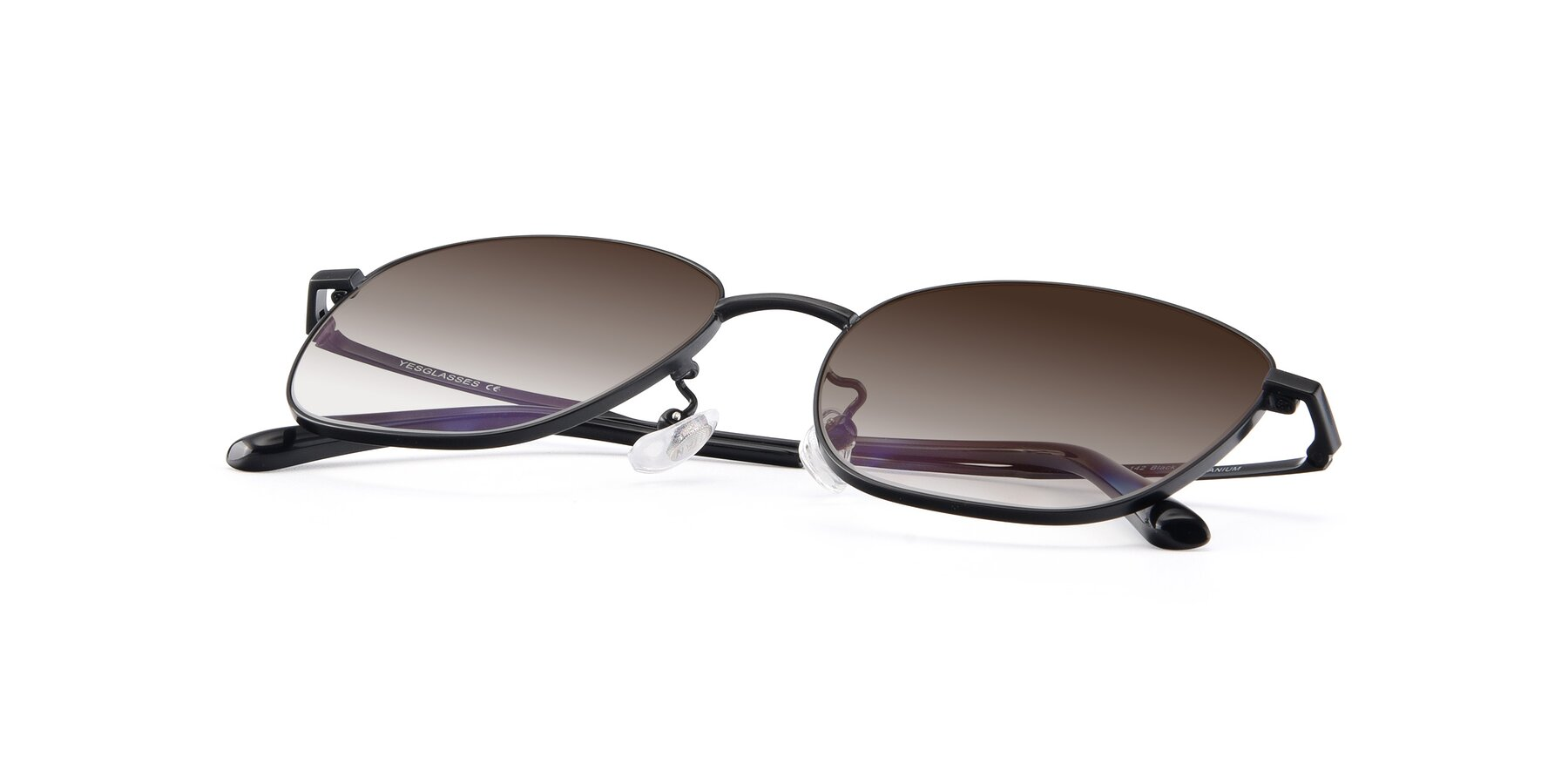 View of Tim in Black with Brown Gradient Lenses