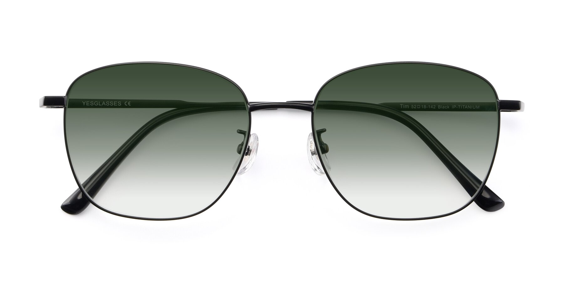 Folded Front of Tim in Black with Green Gradient Lenses