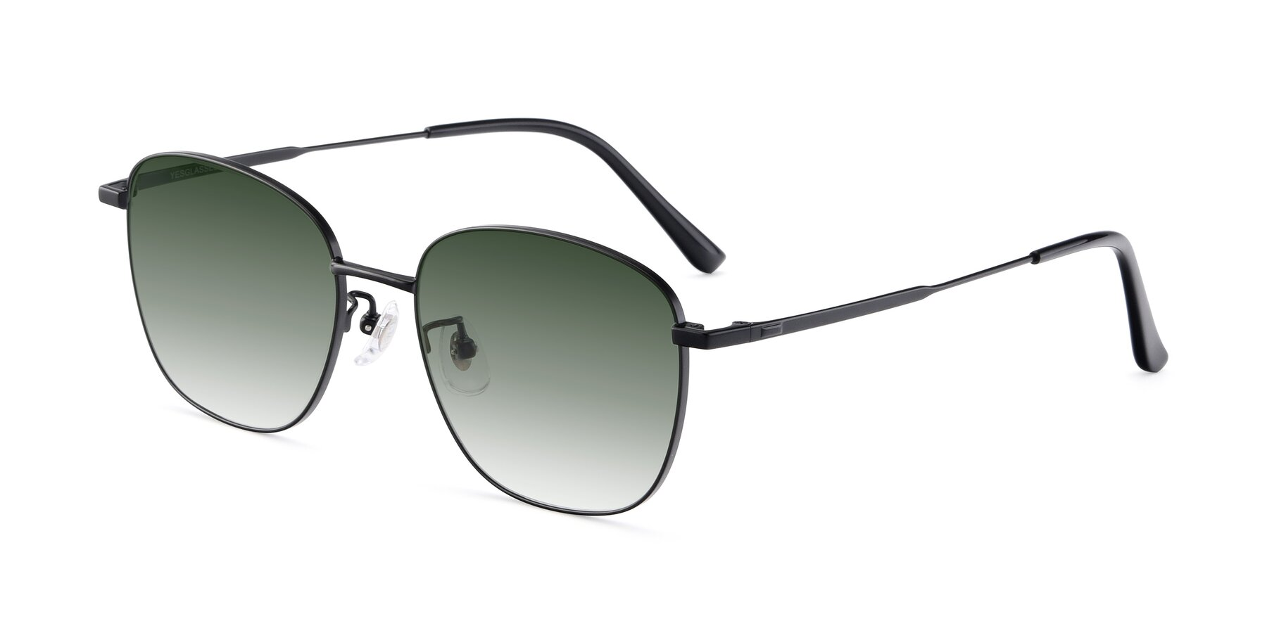 Angle of Tim in Black with Green Gradient Lenses