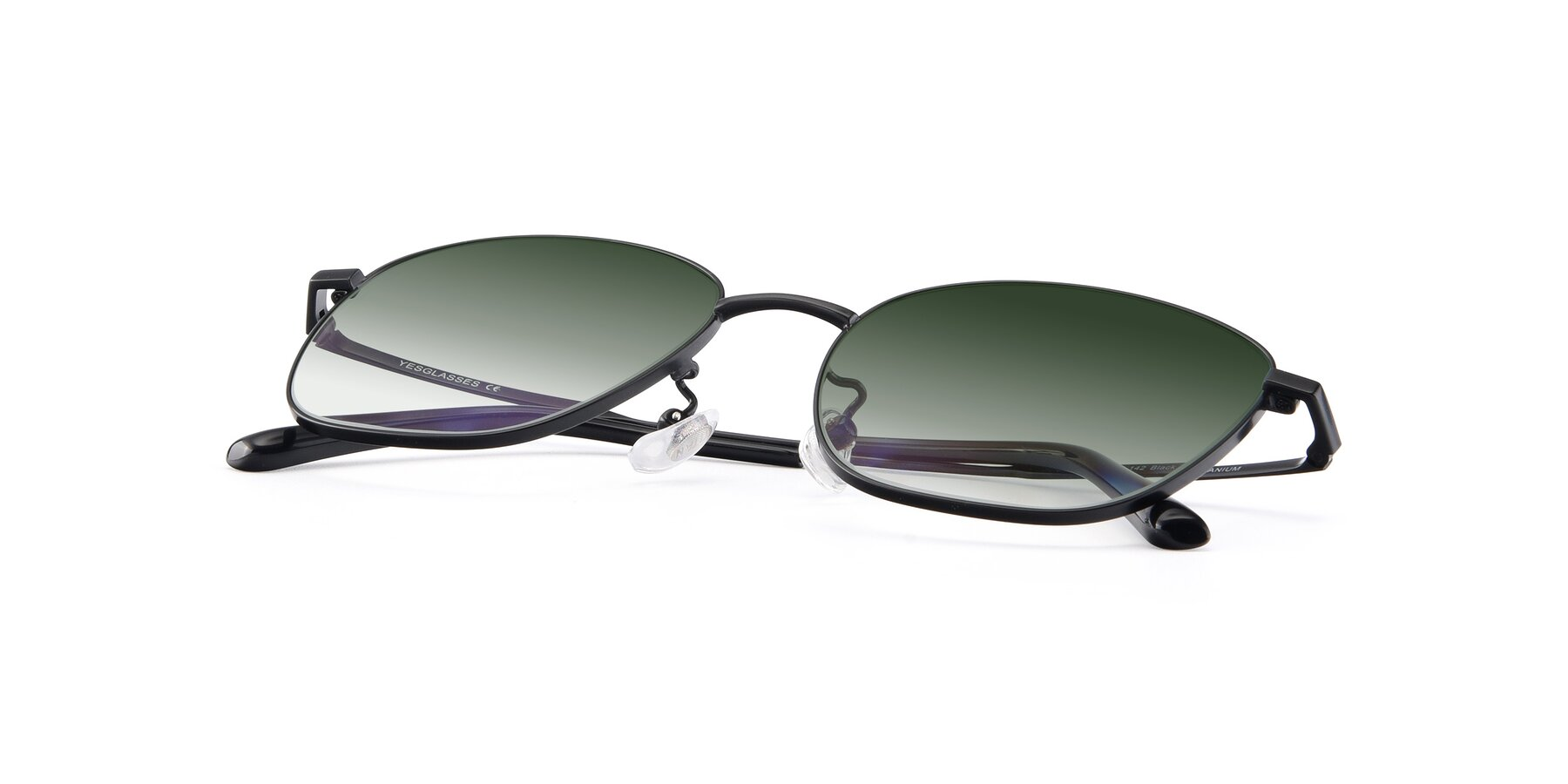 View of Tim in Black with Green Gradient Lenses