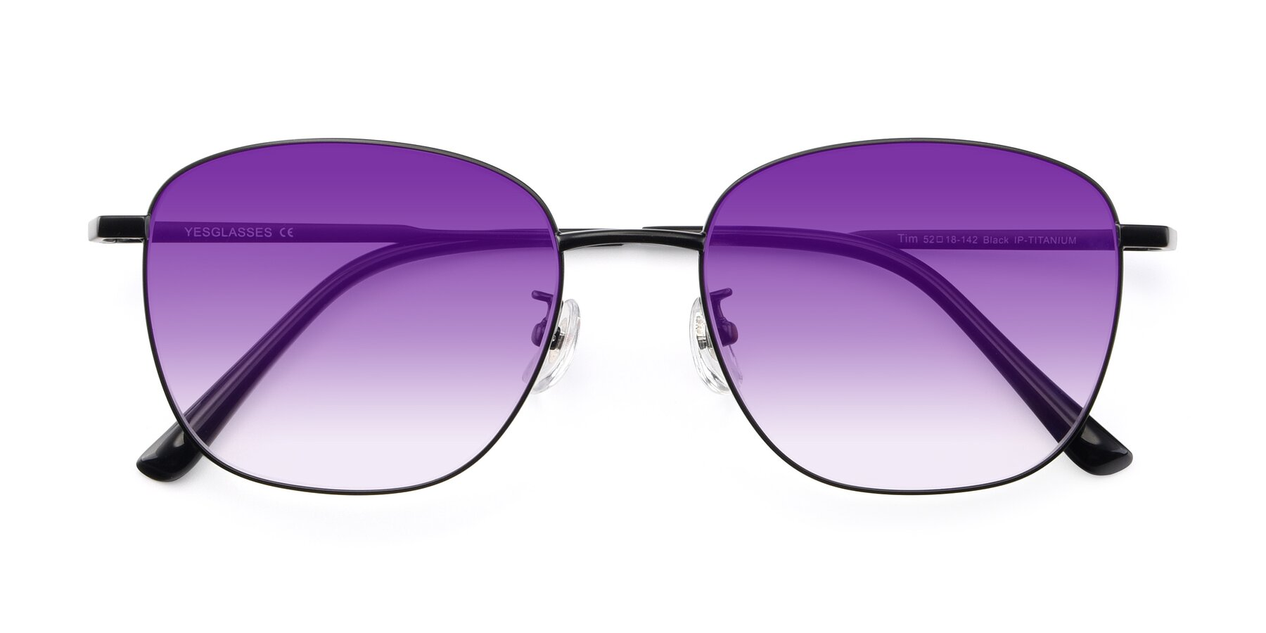 Folded Front of Tim in Black with Purple Gradient Lenses