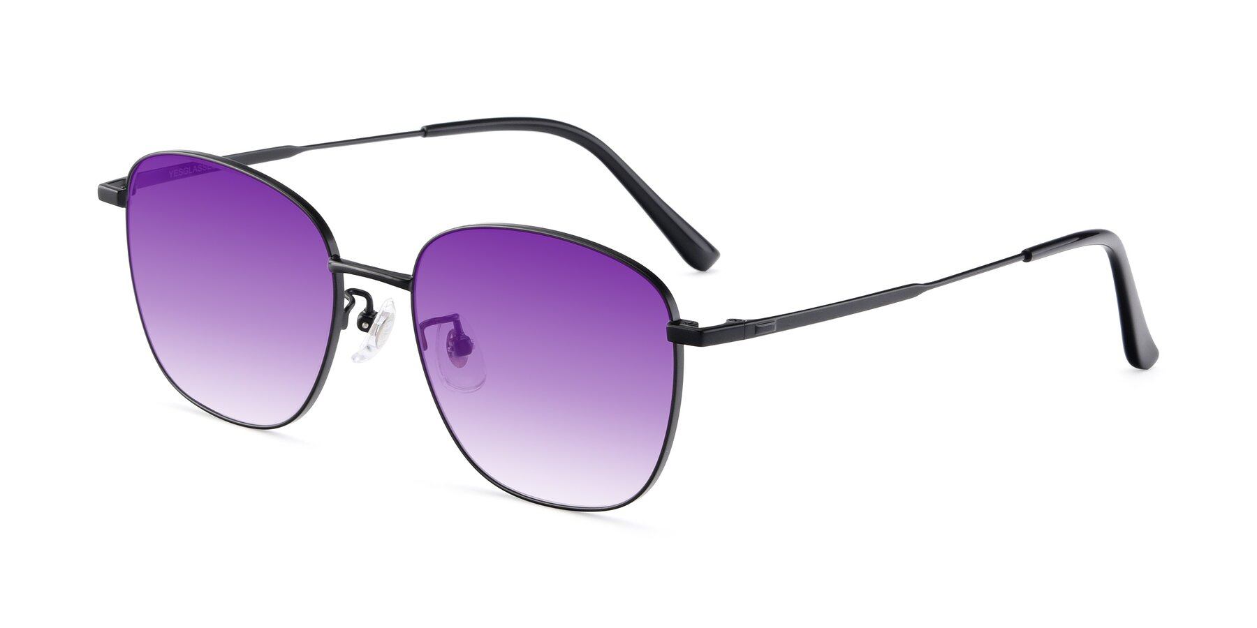 Angle of Tim in Black with Purple Gradient Lenses