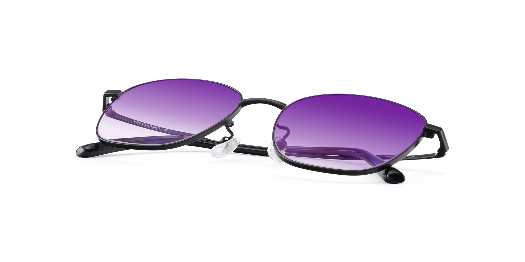 View of Tim in Black with Purple Gradient Lenses