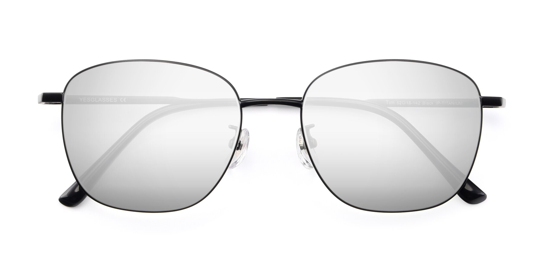 Folded Front of Tim in Black with Silver Mirrored Lenses