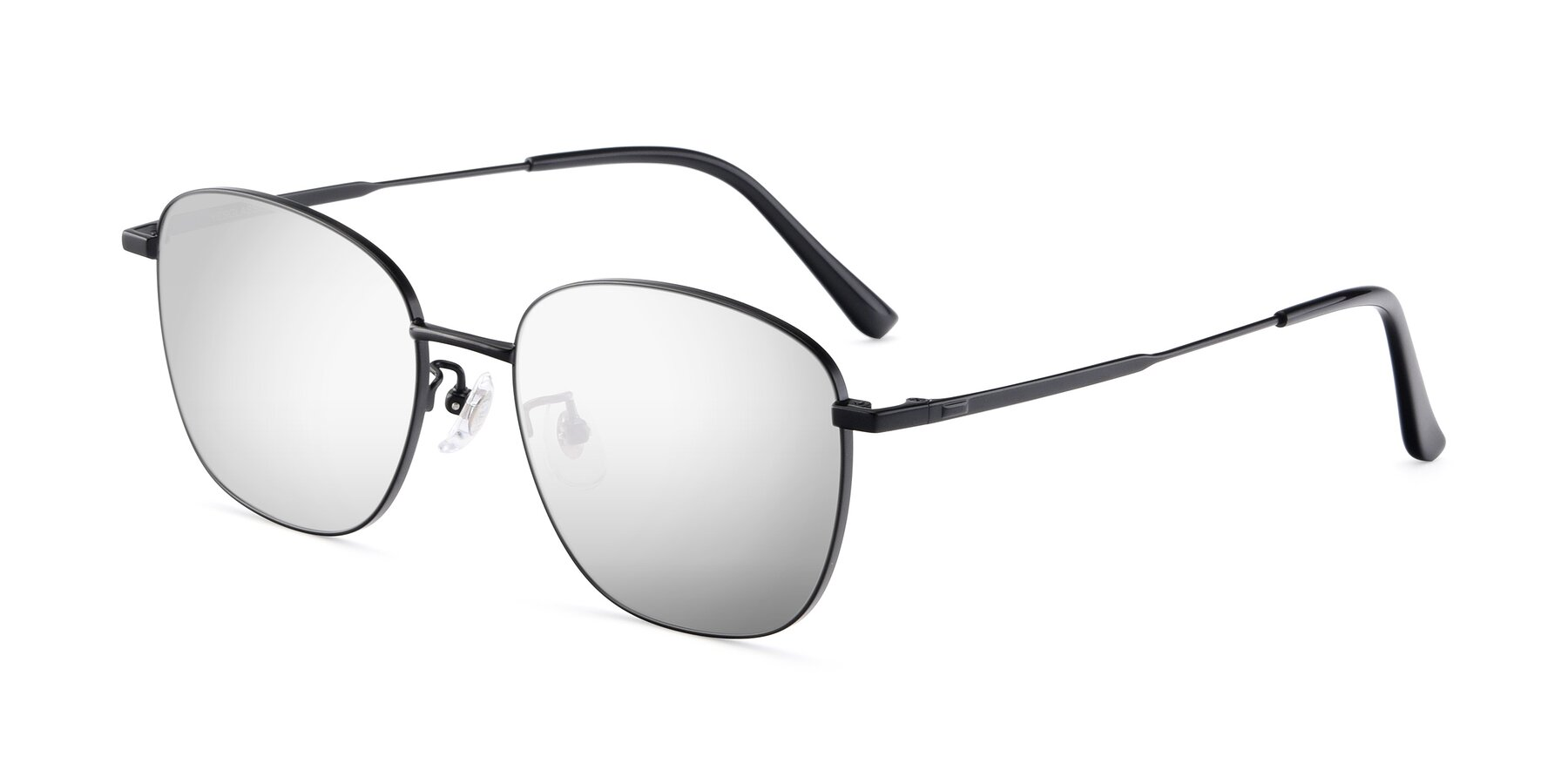 Angle of Tim in Black with Silver Mirrored Lenses