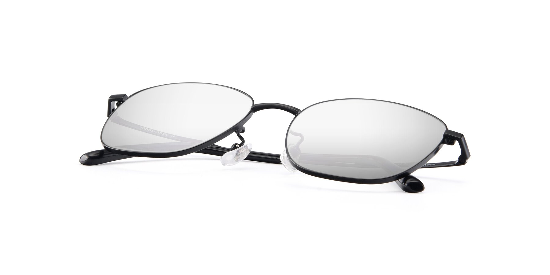 View of Tim in Black with Silver Mirrored Lenses