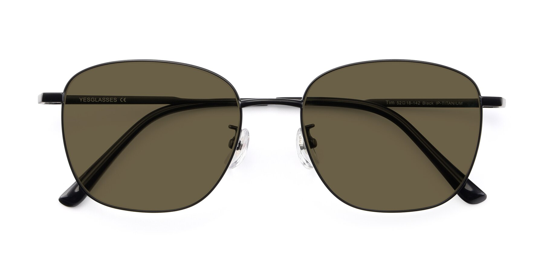 Folded Front of Tim in Black with Brown Polarized Lenses
