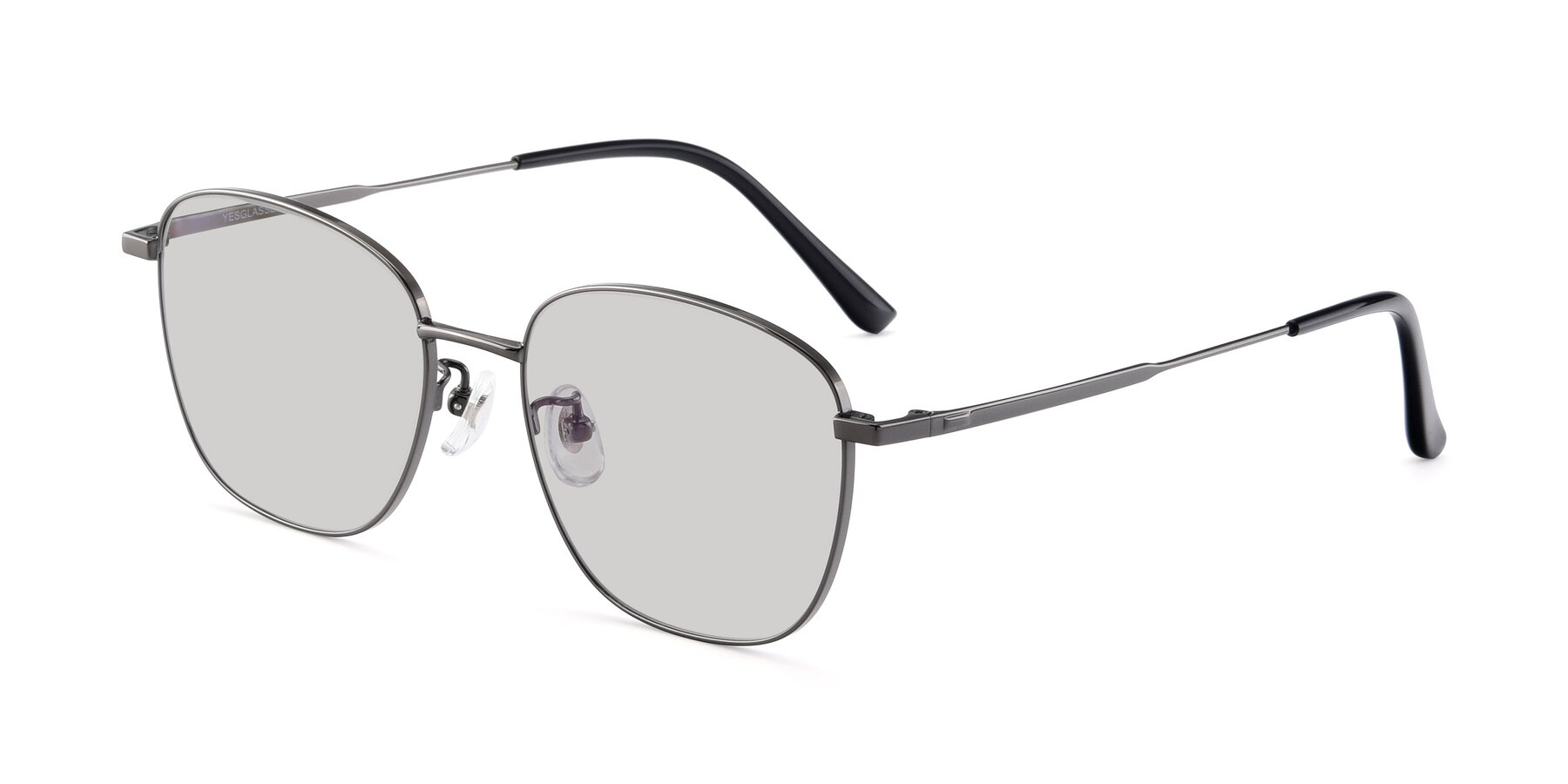 Angle of Tim in Gunmental with Light Gray Tinted Lenses