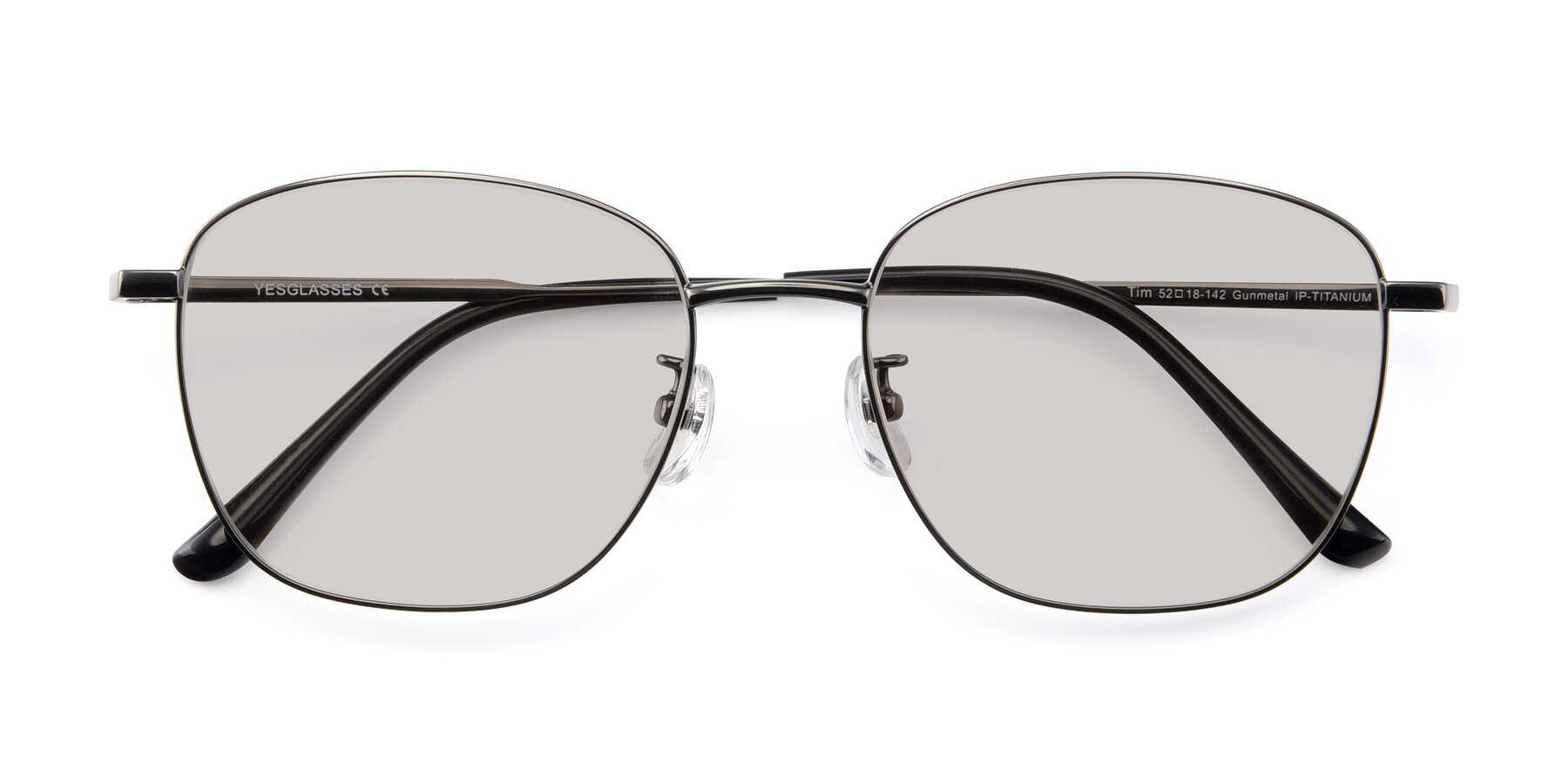 Folded Front of Tim in Gunmental with Light Brown Tinted Lenses