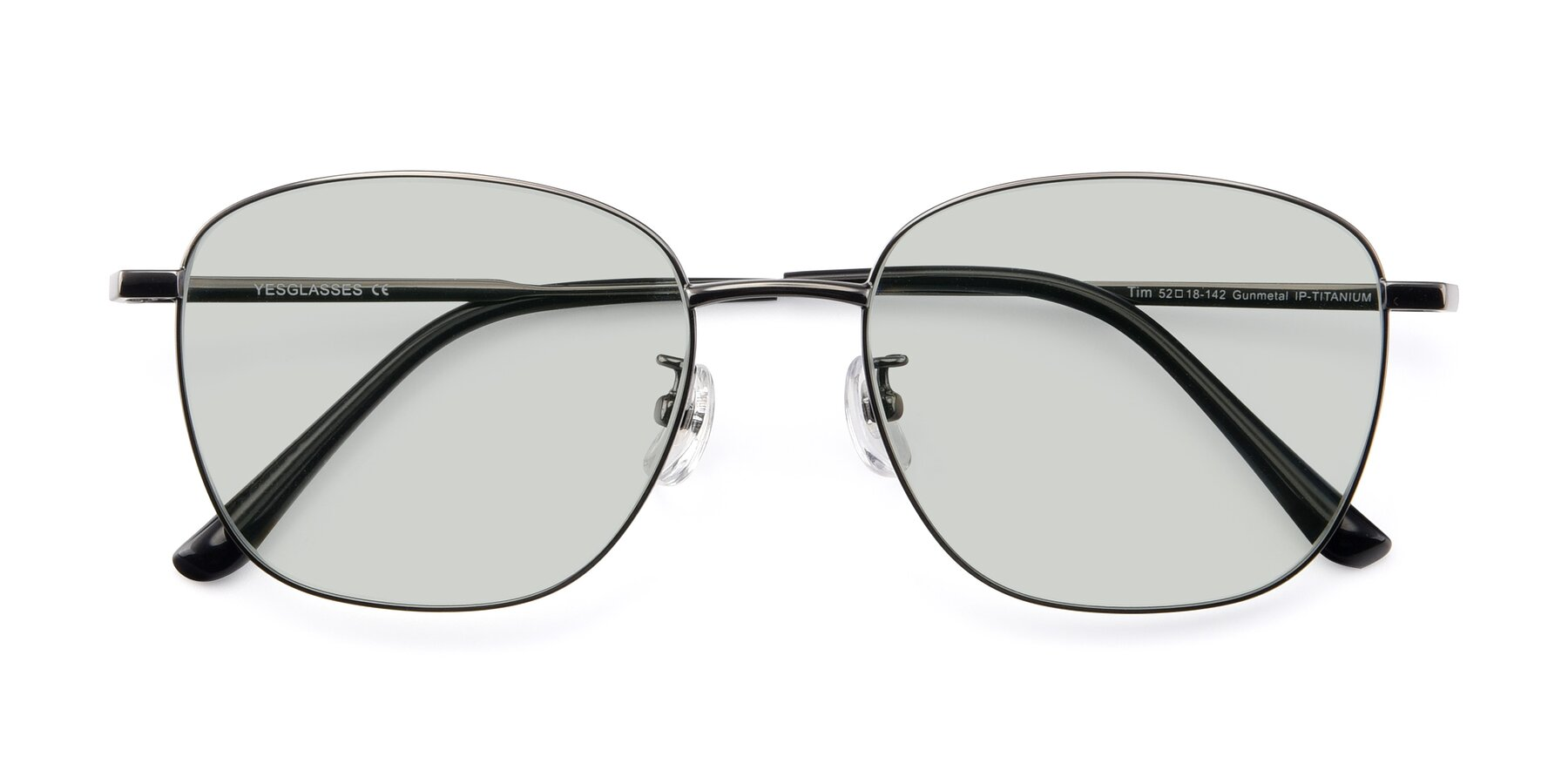 Folded Front of Tim in Gunmental with Light Green Tinted Lenses