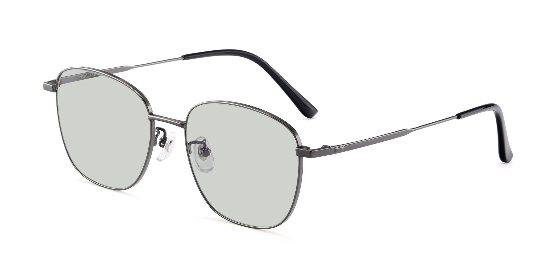 Angle of Tim in Gunmental with Light Green Tinted Lenses
