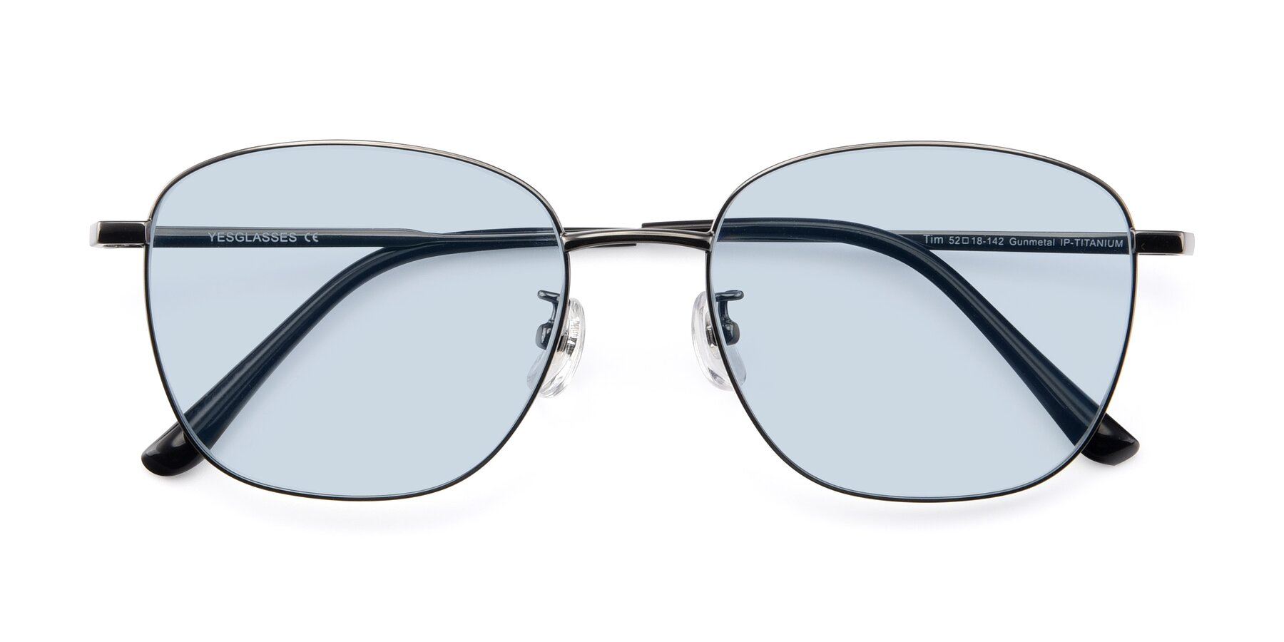 Folded Front of Tim in Gunmental with Light Blue Tinted Lenses