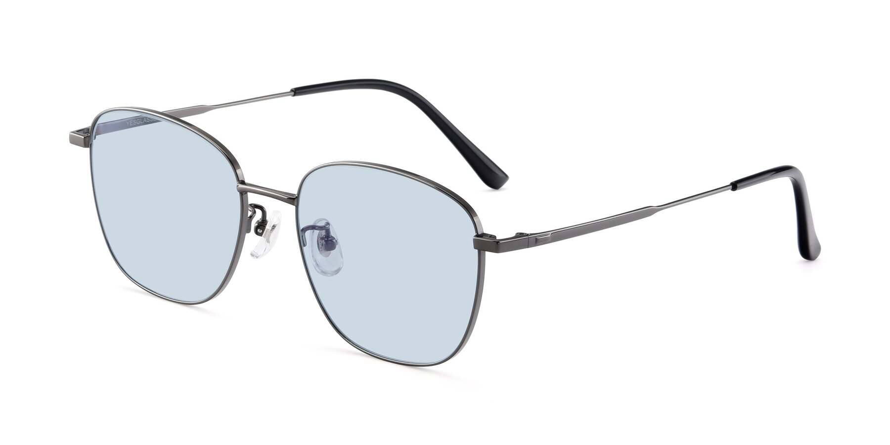 Angle of Tim in Gunmental with Light Blue Tinted Lenses