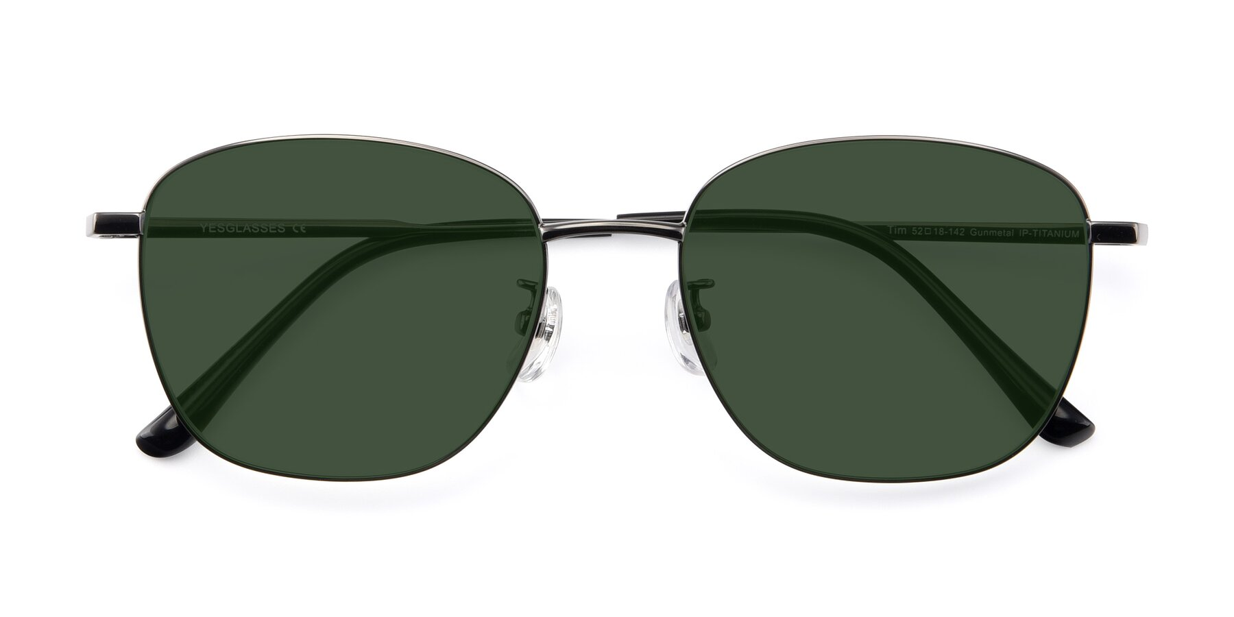 Folded Front of Tim in Gunmental with Green Tinted Lenses