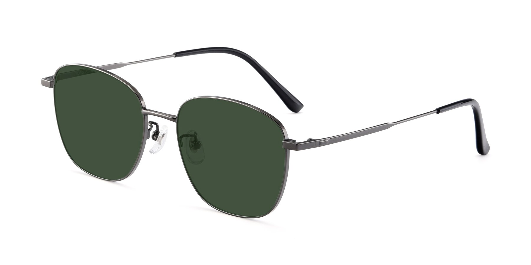 Angle of Tim in Gunmental with Green Tinted Lenses