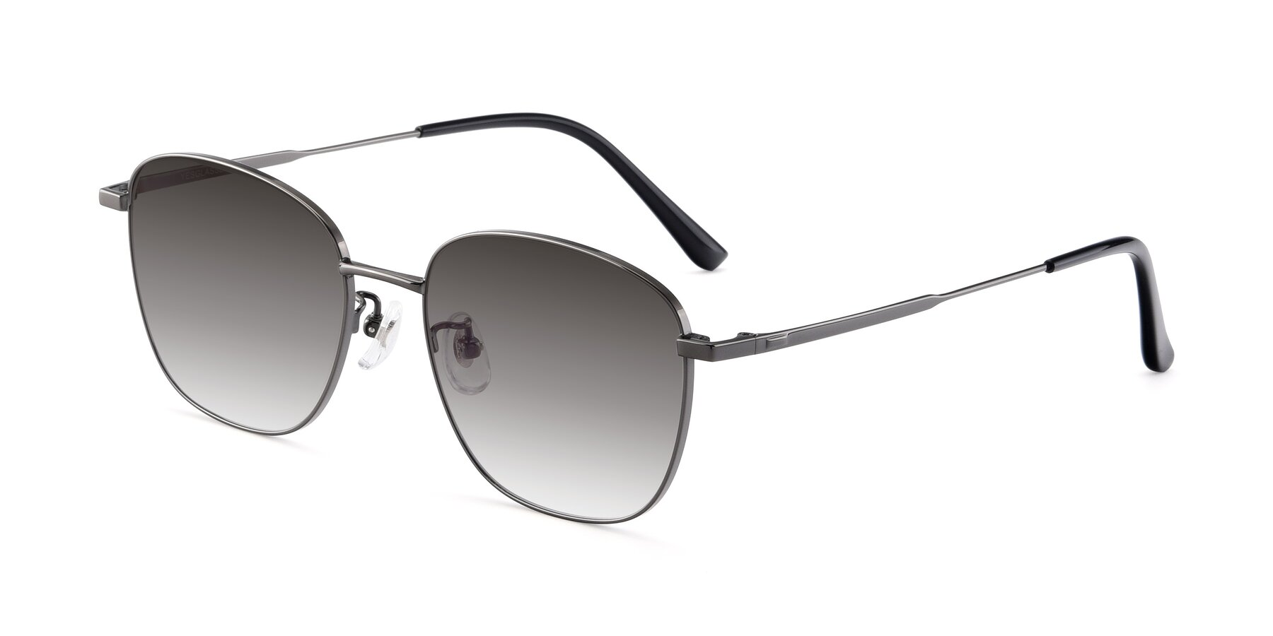 Angle of Tim in Gunmental with Gray Gradient Lenses
