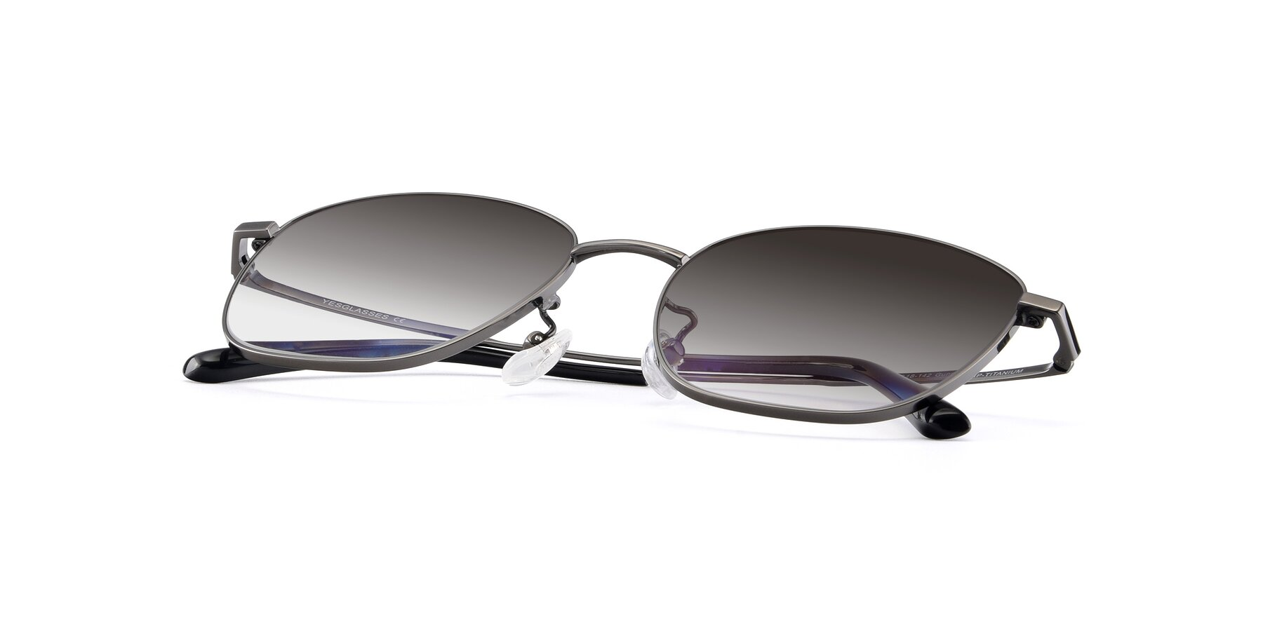 View of Tim in Gunmental with Gray Gradient Lenses