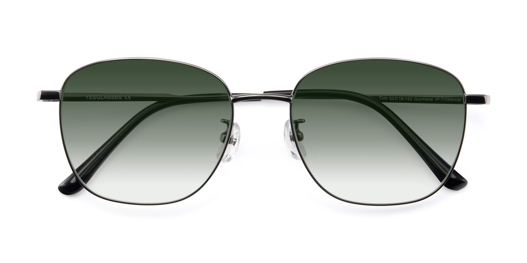 Folded Front of Tim in Gunmental with Green Gradient Lenses