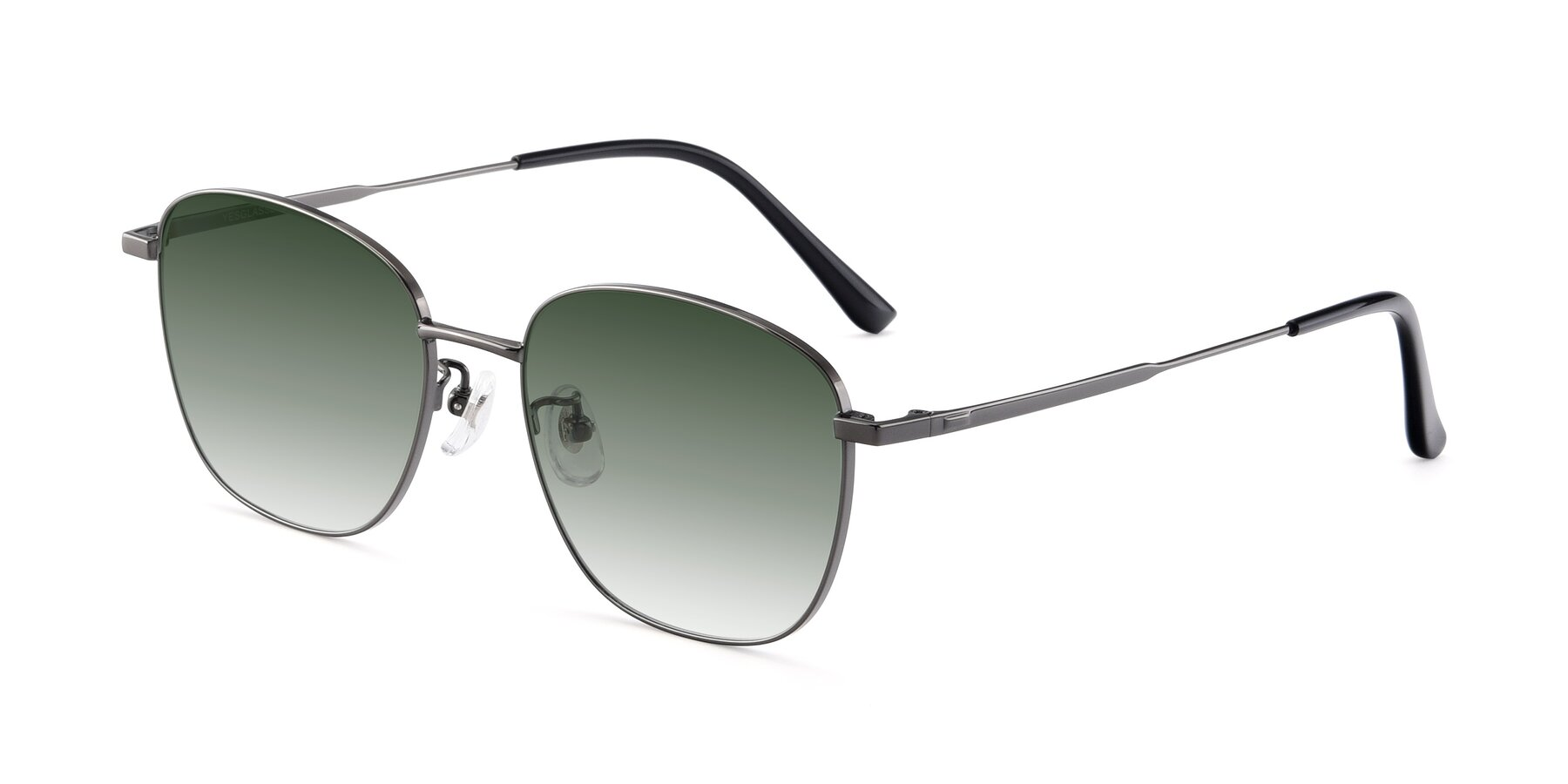 Angle of Tim in Gunmental with Green Gradient Lenses