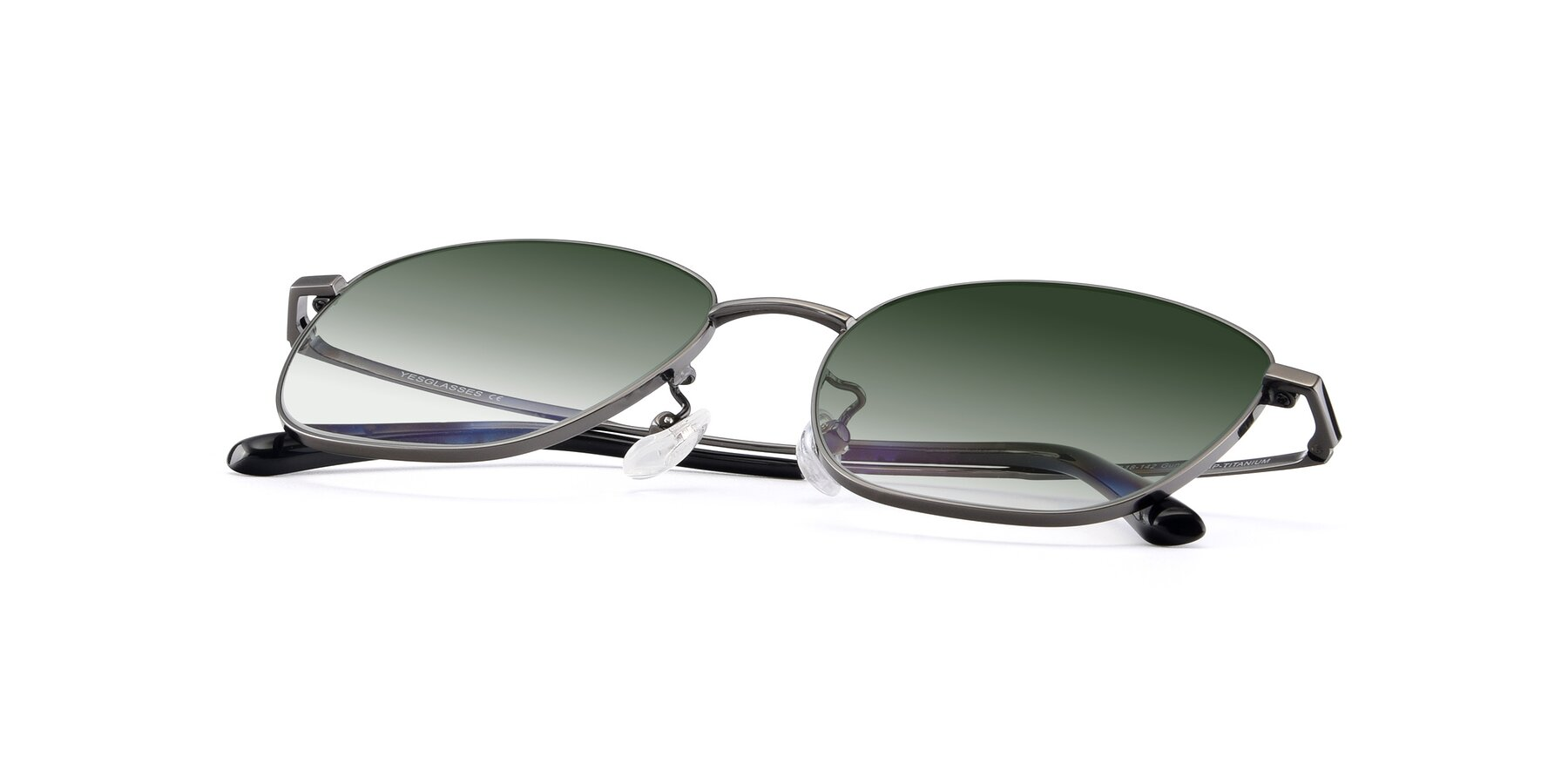 View of Tim in Gunmental with Green Gradient Lenses